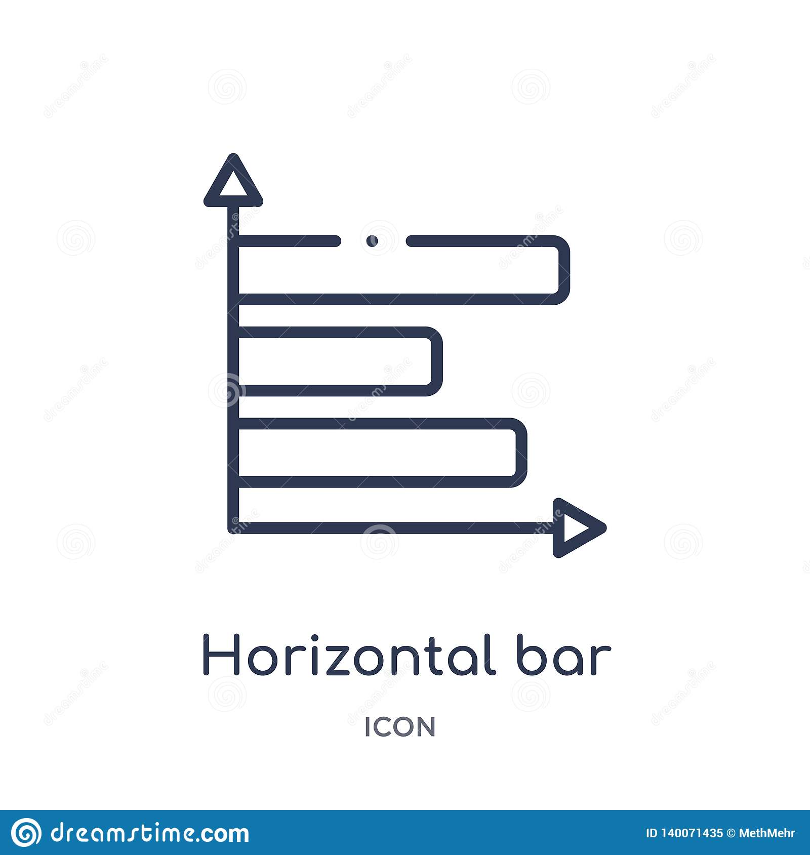 Linear horizontal bar chart icon from Business outline collection. Thin line horizontal bar chart icon isolated on white