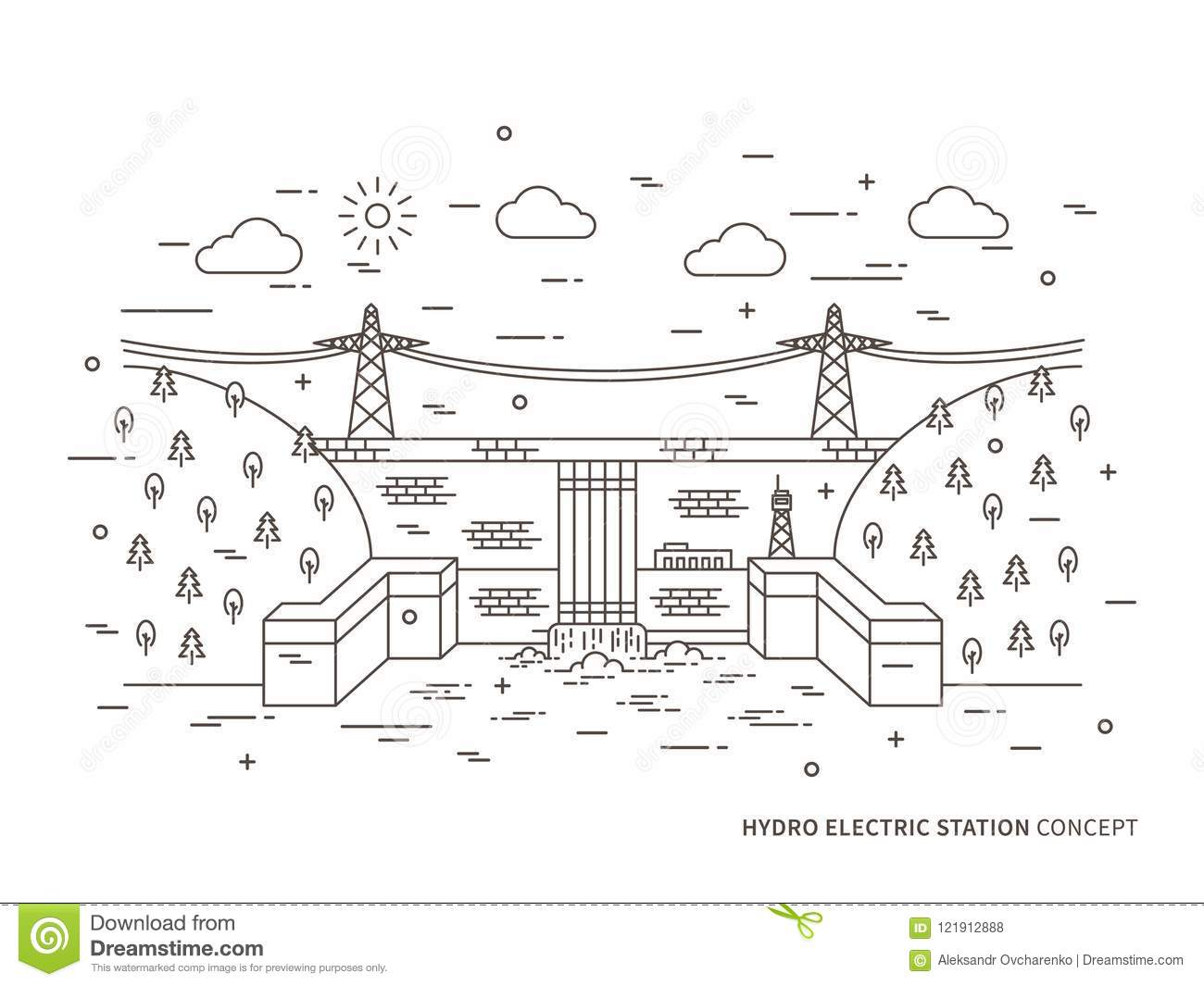 Linear hydro electric station vector illustration