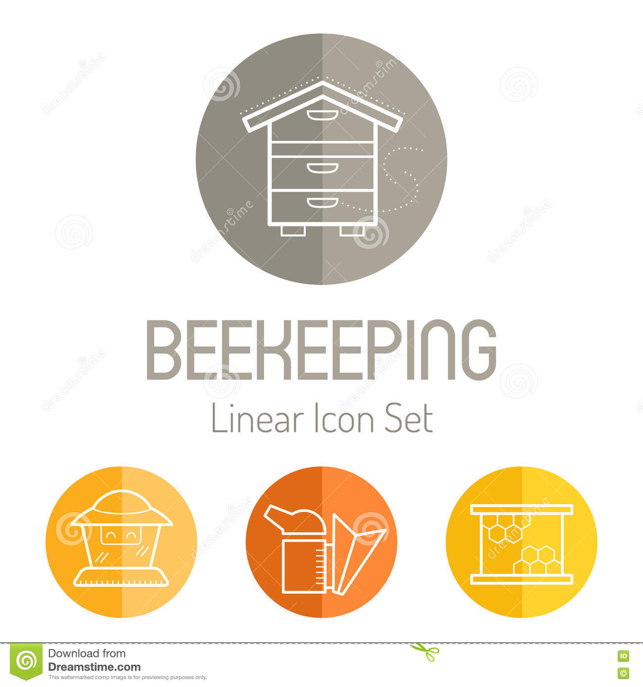 Linear Icon Set With Beekeeper, Bee Smoker And Honeycomb