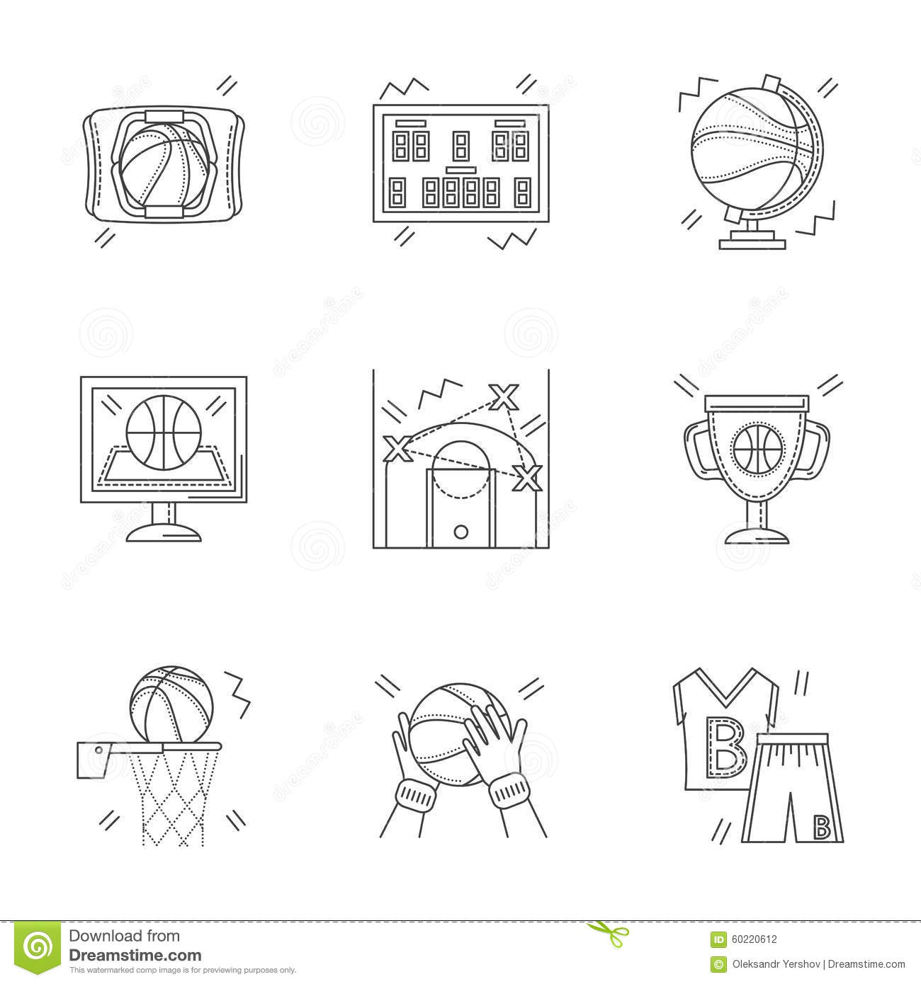 Linear icons for basketball stock illustration illustration of linear icons for basketball biocorpaavc Choice Image