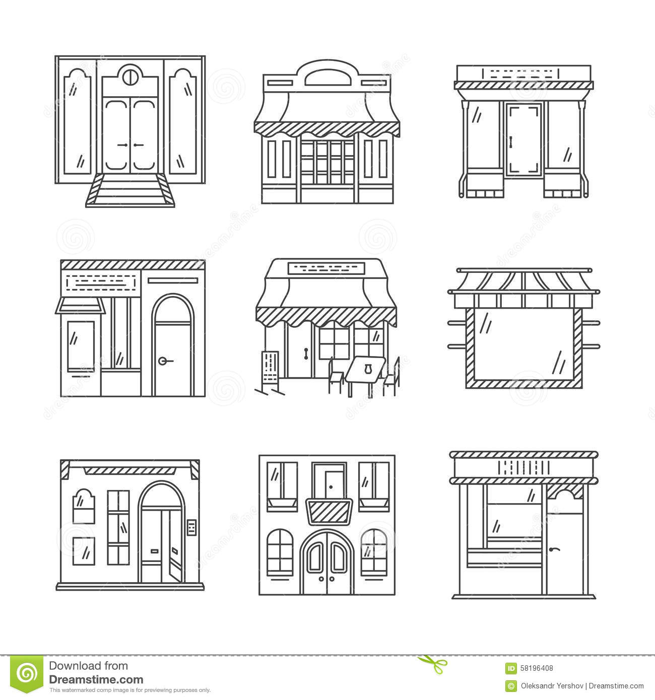 Linear Icons For Storefronts Stock Photo Image 58196408