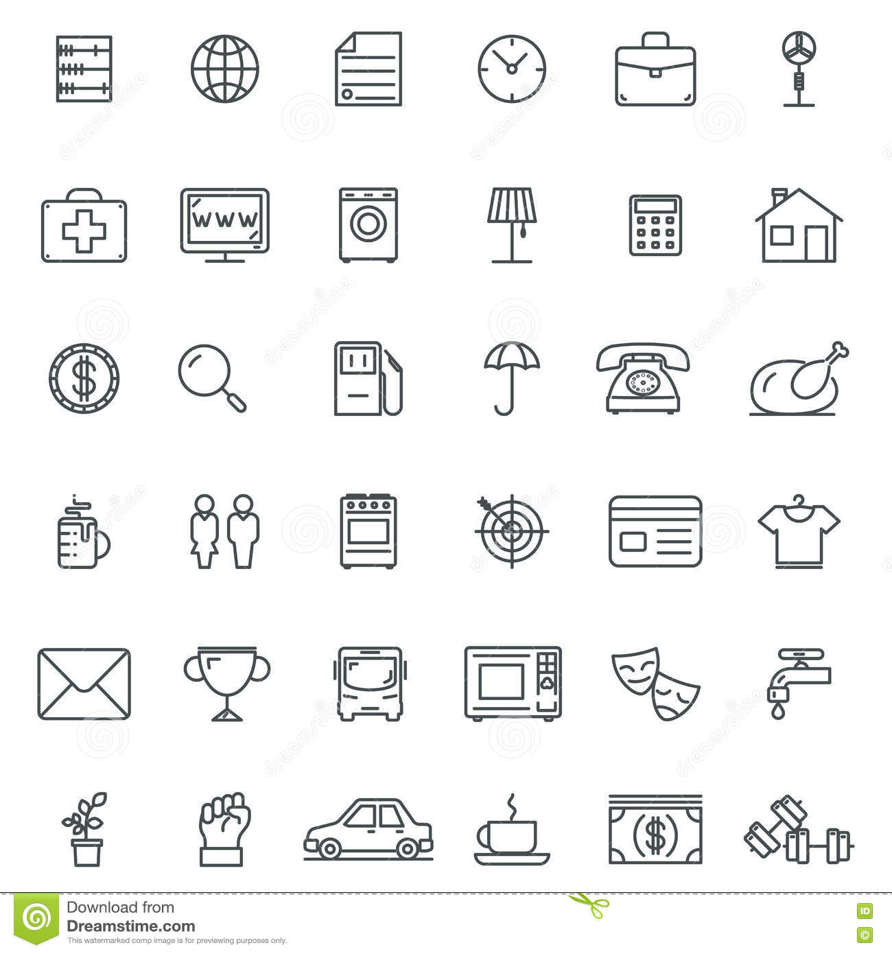 Linear Icons Thin Icon And Signs Outline Symbol Pictograms Stock