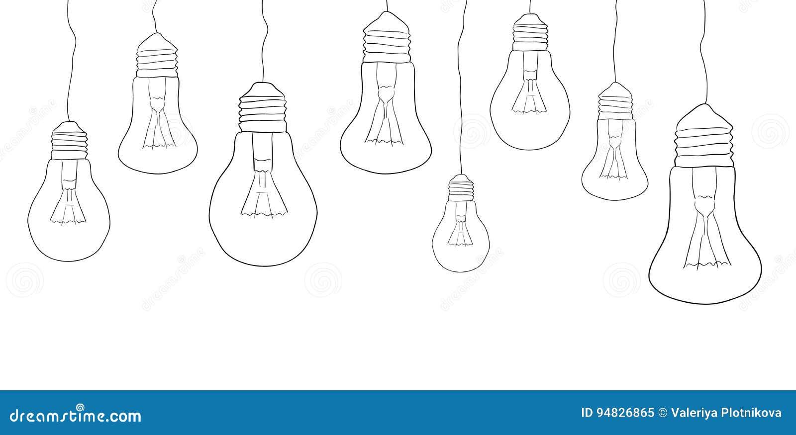 Linear Illustration Of Hanging Light Bulbs Border Stock