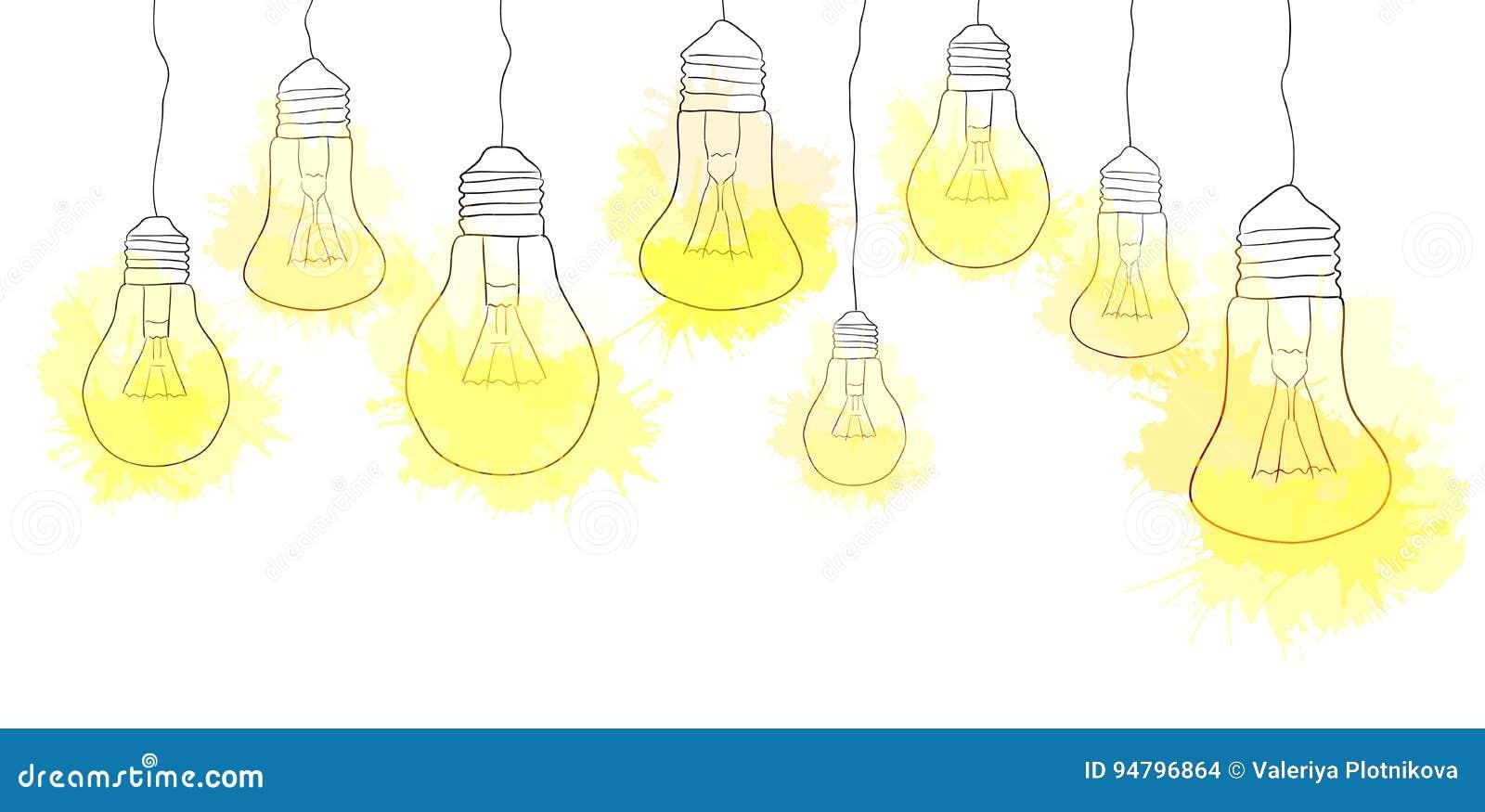 linear illustration of hanging light bulbs stock vector