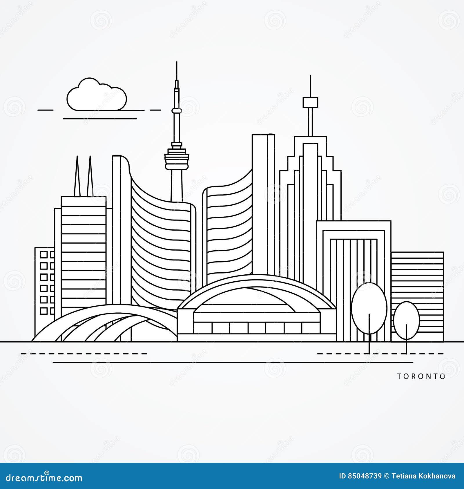 Linear illustration of Toronto, Canada. Flat one line style. Trendy vector illustration
