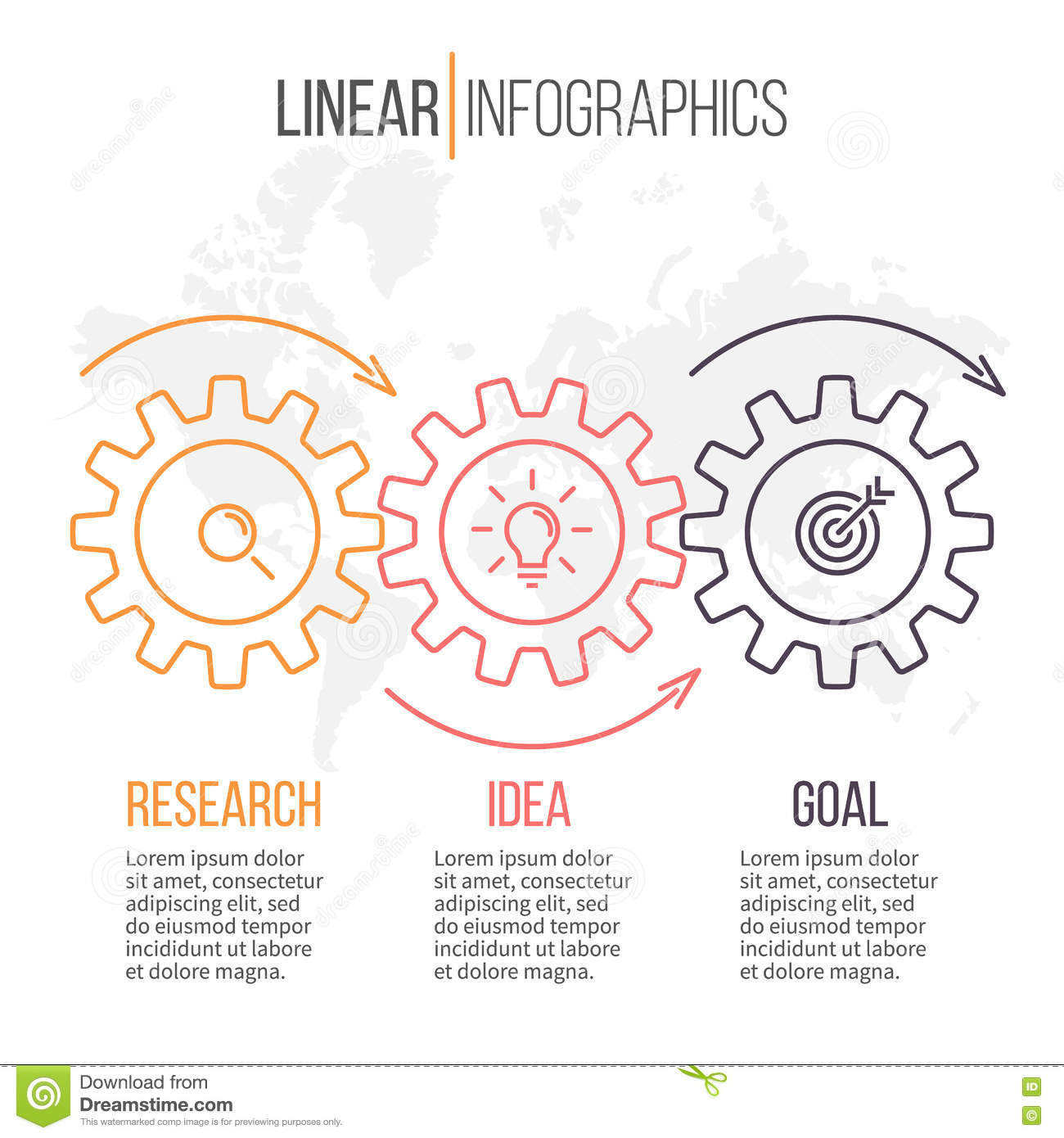 Linear Infographics With Gears. Business Diagram 3 Steps. Stock ...