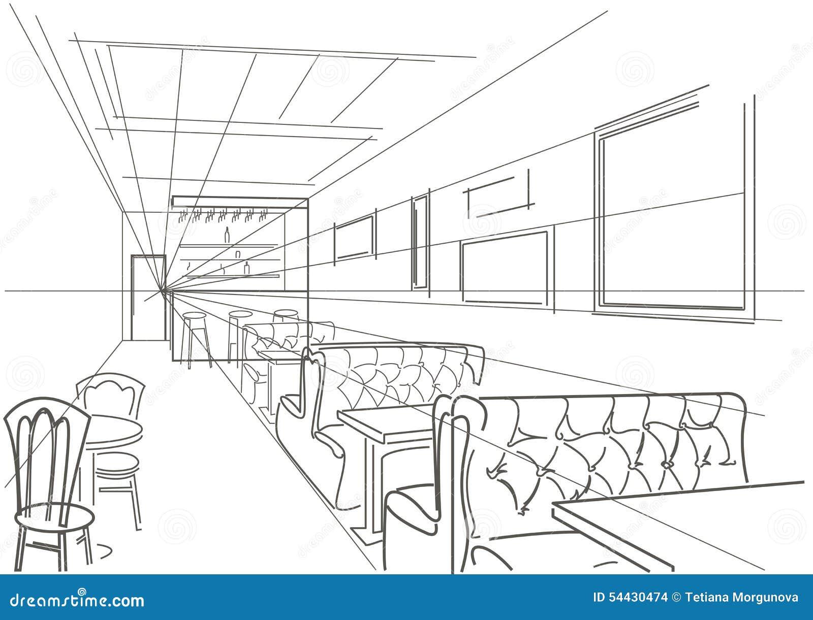 Linear interior sketch cafe stock vector image