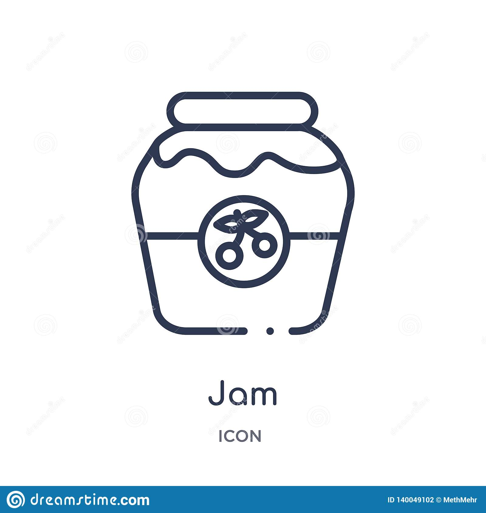 Linear jam icon from Autumn outline collection. Thin line jam vector isolated on white background. jam trendy illustration