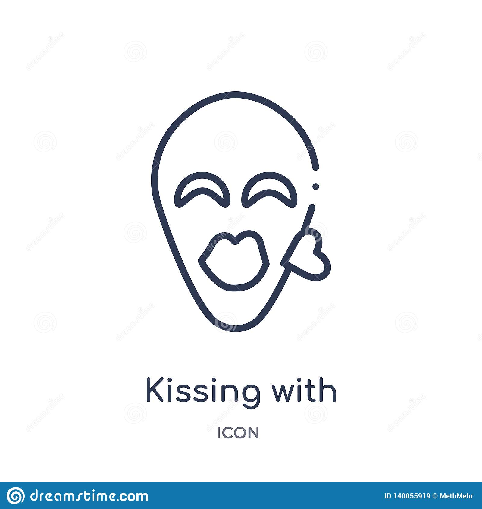 Linear kissing with closed eyes emoji icon from Emoji outline collection. Thin line kissing with closed eyes emoji vector