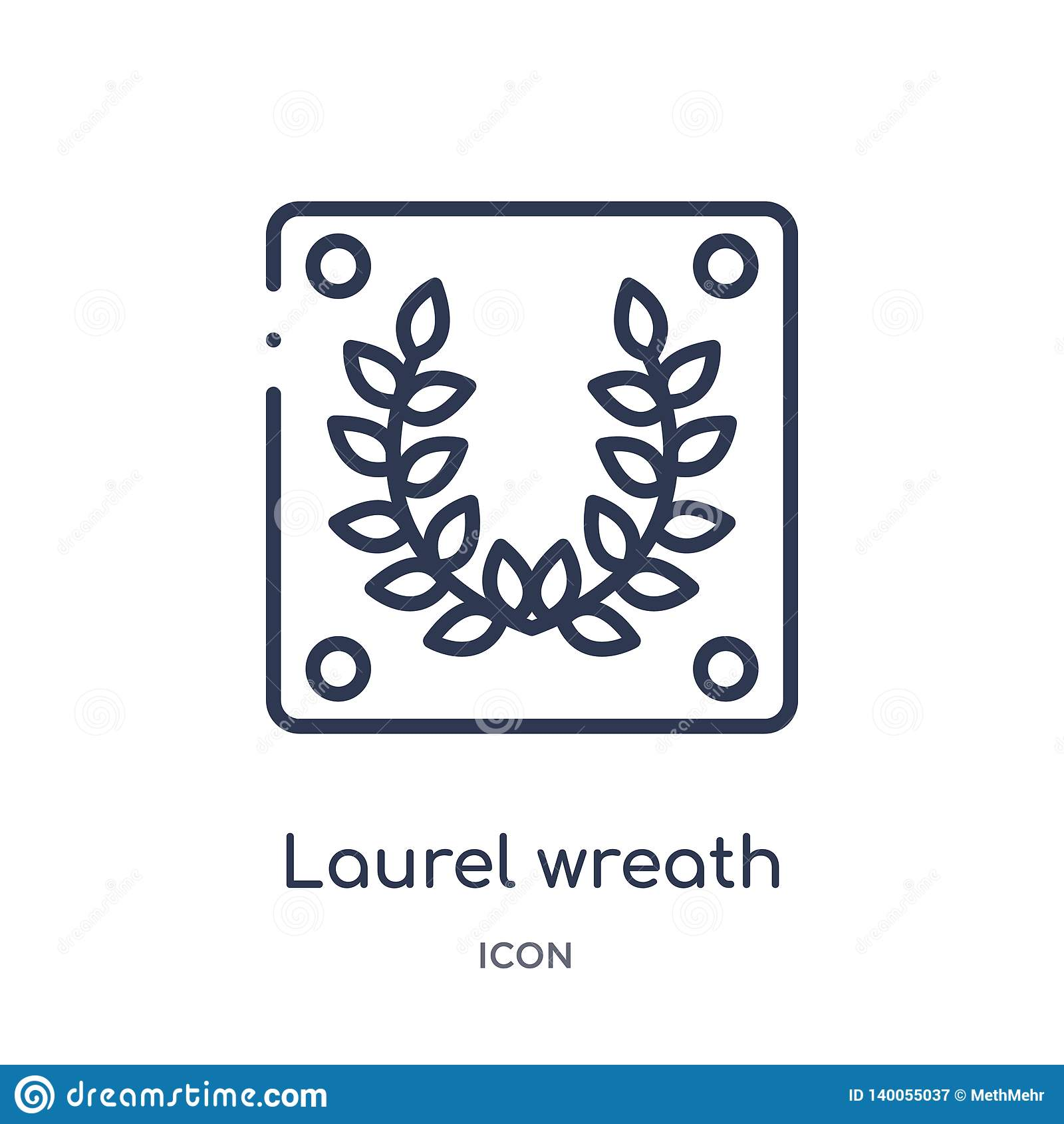 Linear laurel wreath icon from Education outline collection. Thin line laurel wreath vector isolated on white background. laurel