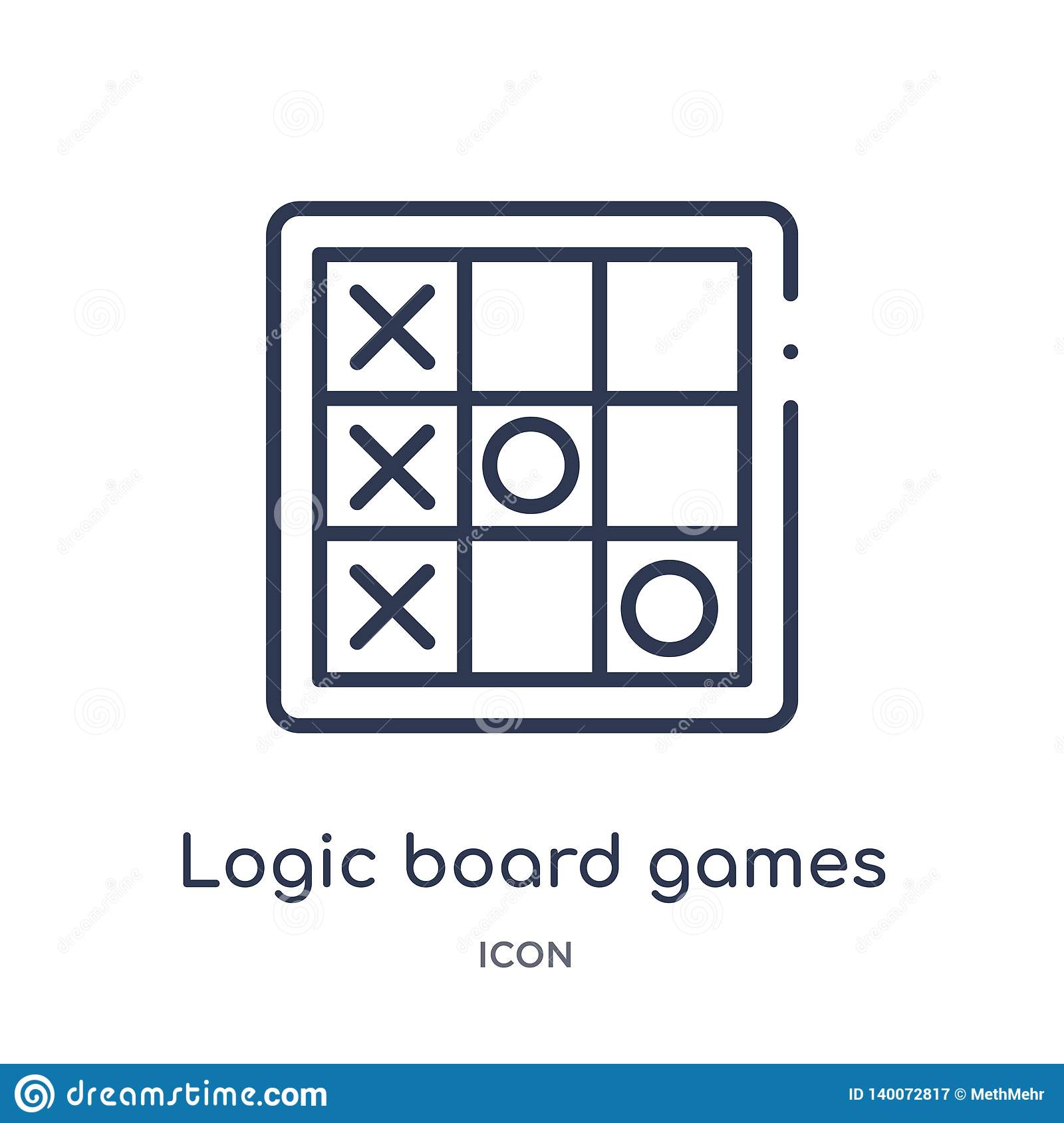 Linear logic board games icon from Entertainment outline collection. Thin line logic board games icon isolated on white background