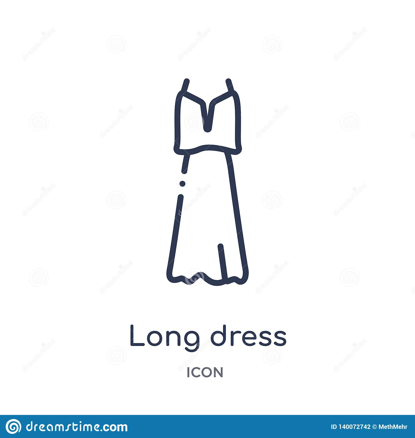 Linear long dress icon from Fashion outline collection. Thin line long dress icon isolated on white background. long dress trendy