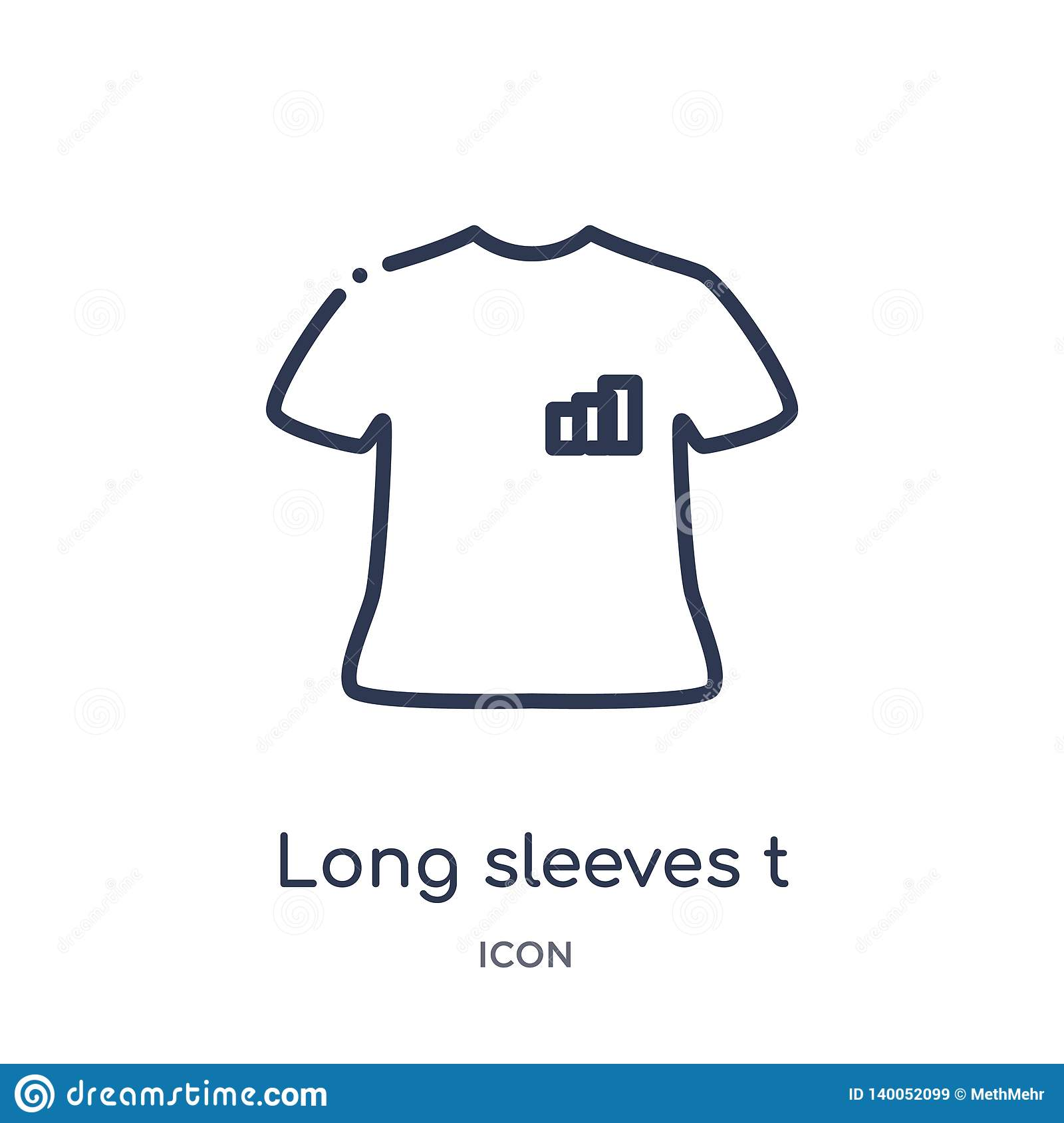 Linear long sleeves t shirt icon from Clothes outline collection. Thin line long sleeves t shirt vector isolated on white