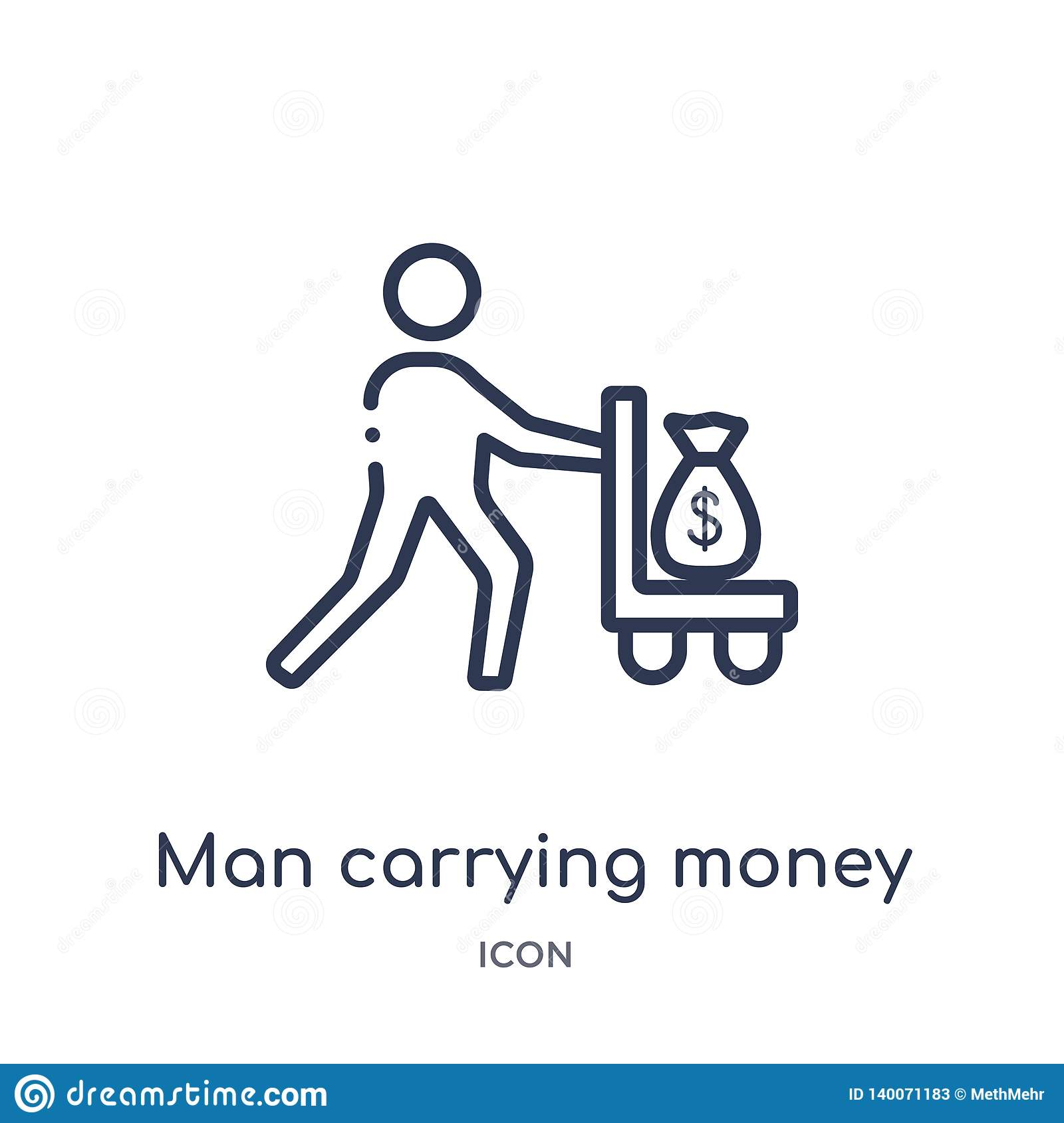 Linear man carrying money icon from Business outline collection. Thin line man carrying money icon isolated on white background.
