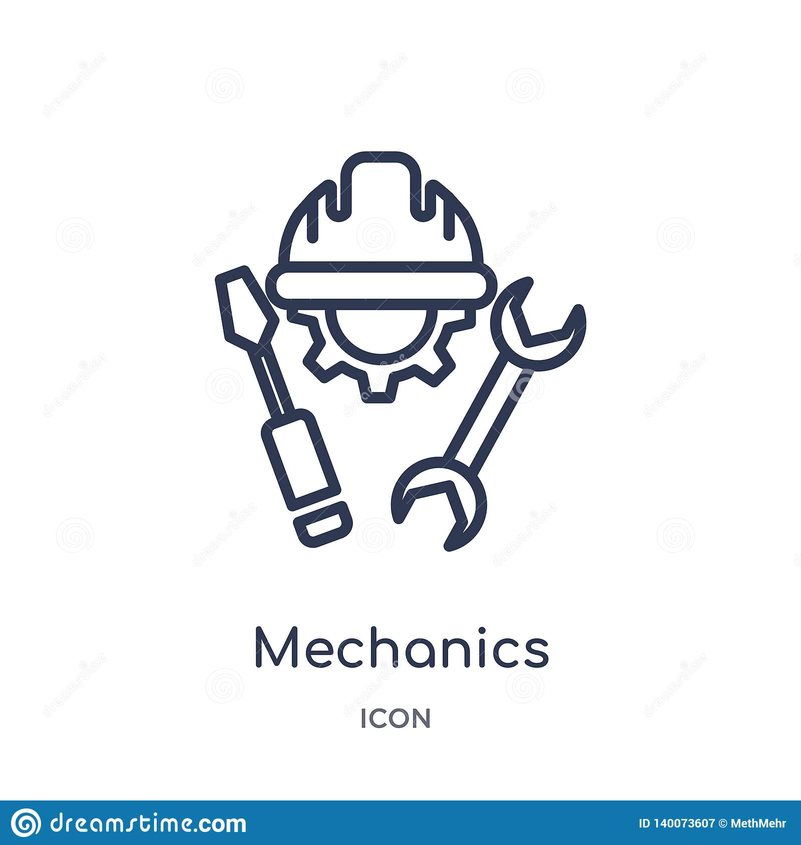 Linear mechanics icon from General outline collection. Thin line mechanics icon isolated on white background. mechanics trendy