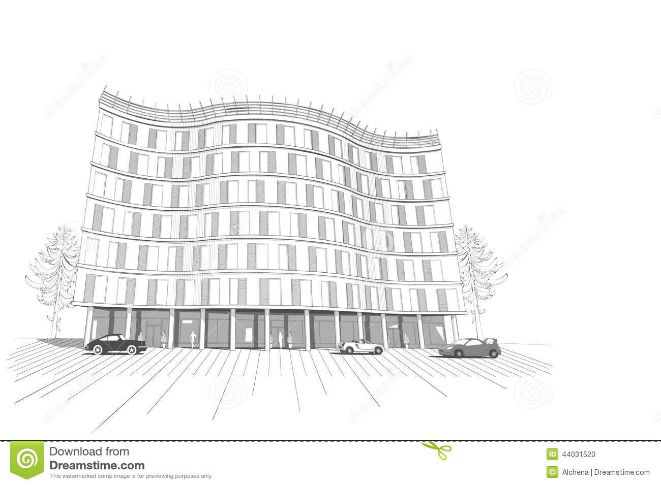 Linear Multistory Apartment Or Office Building Stock ...