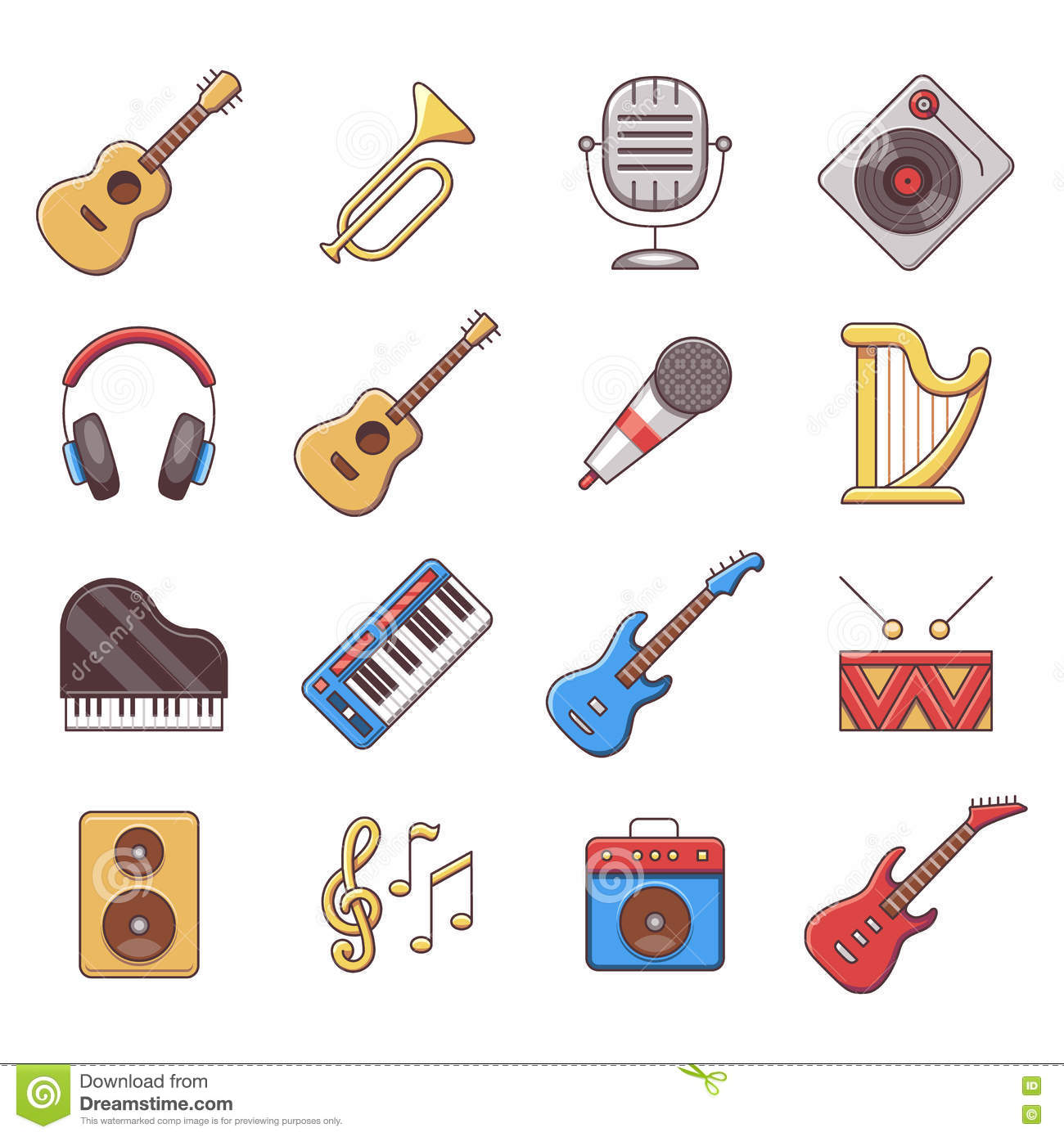 Music Instruments Color Vector Illustration ... Music Icon Images Hd