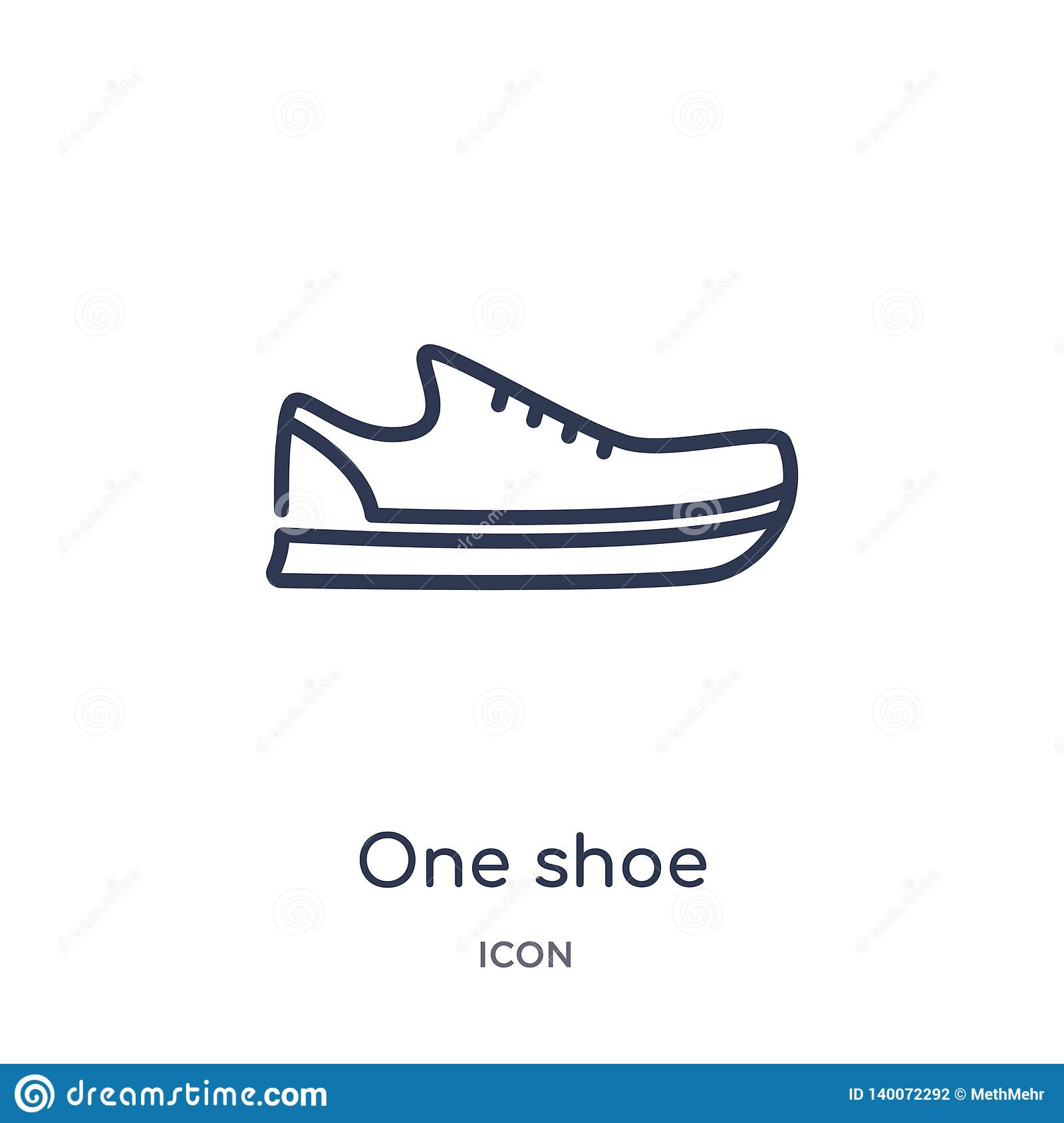 Linear one shoe icon from Fashion outline collection. Thin line one shoe icon isolated on white background. one shoe trendy