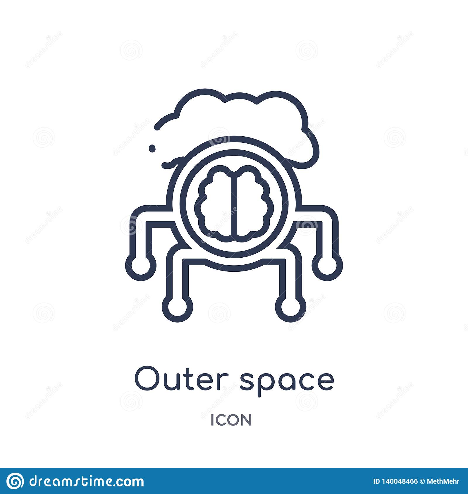 Linear outer space icon from Artificial intellegence and future technology outline collection. Thin line outer space vector