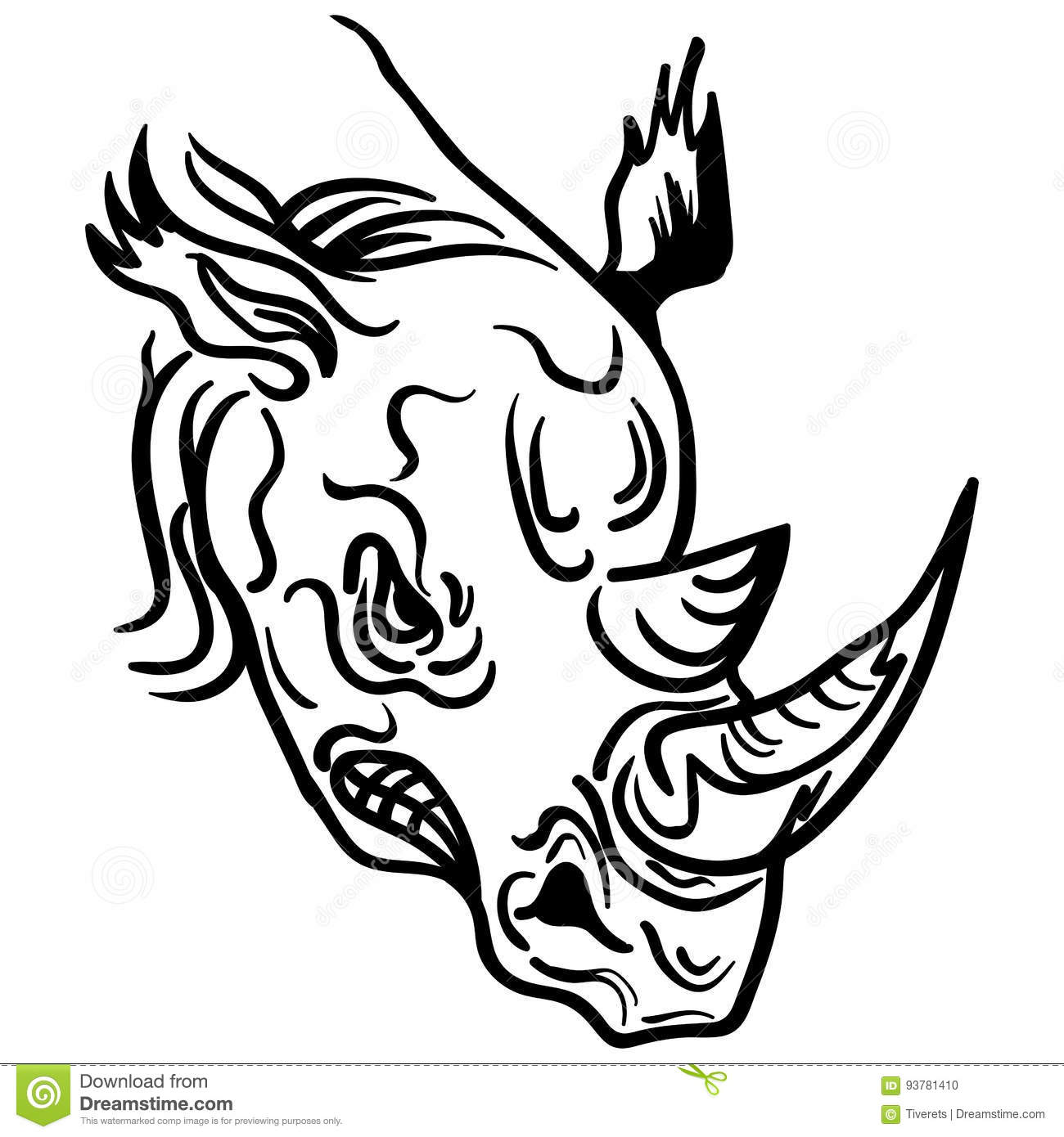 Linear paint draw rhino head vector illustration stock vector royalty free vector download linear paint draw rhino head ccuart Gallery