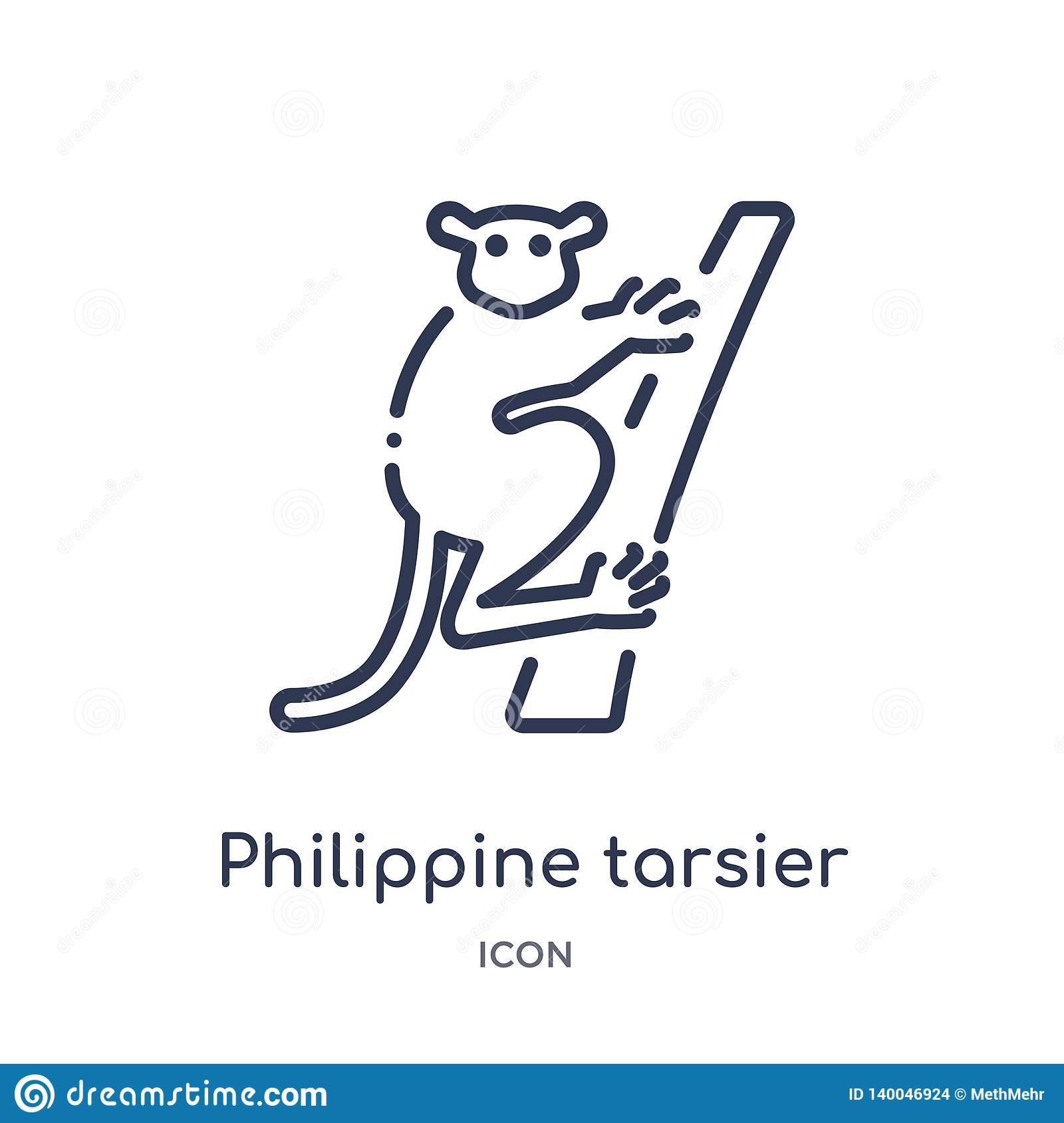 Linear philippine tarsier icon from Animals and wildlife outline collection. Thin line philippine tarsier vector isolated on white