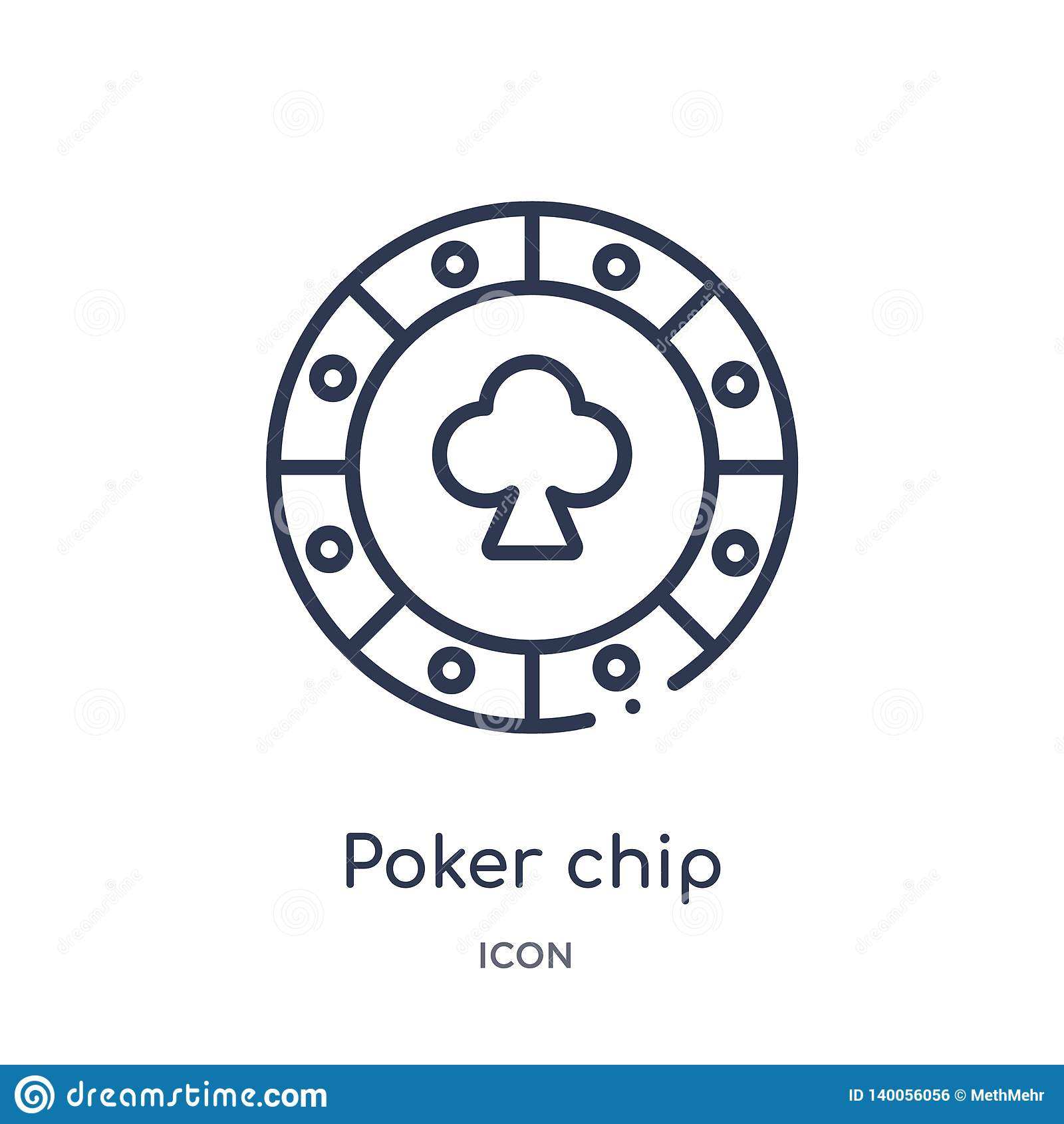 Linear poker chip icon from Entertainment and arcade outline collection. Thin line poker chip vector isolated on white background