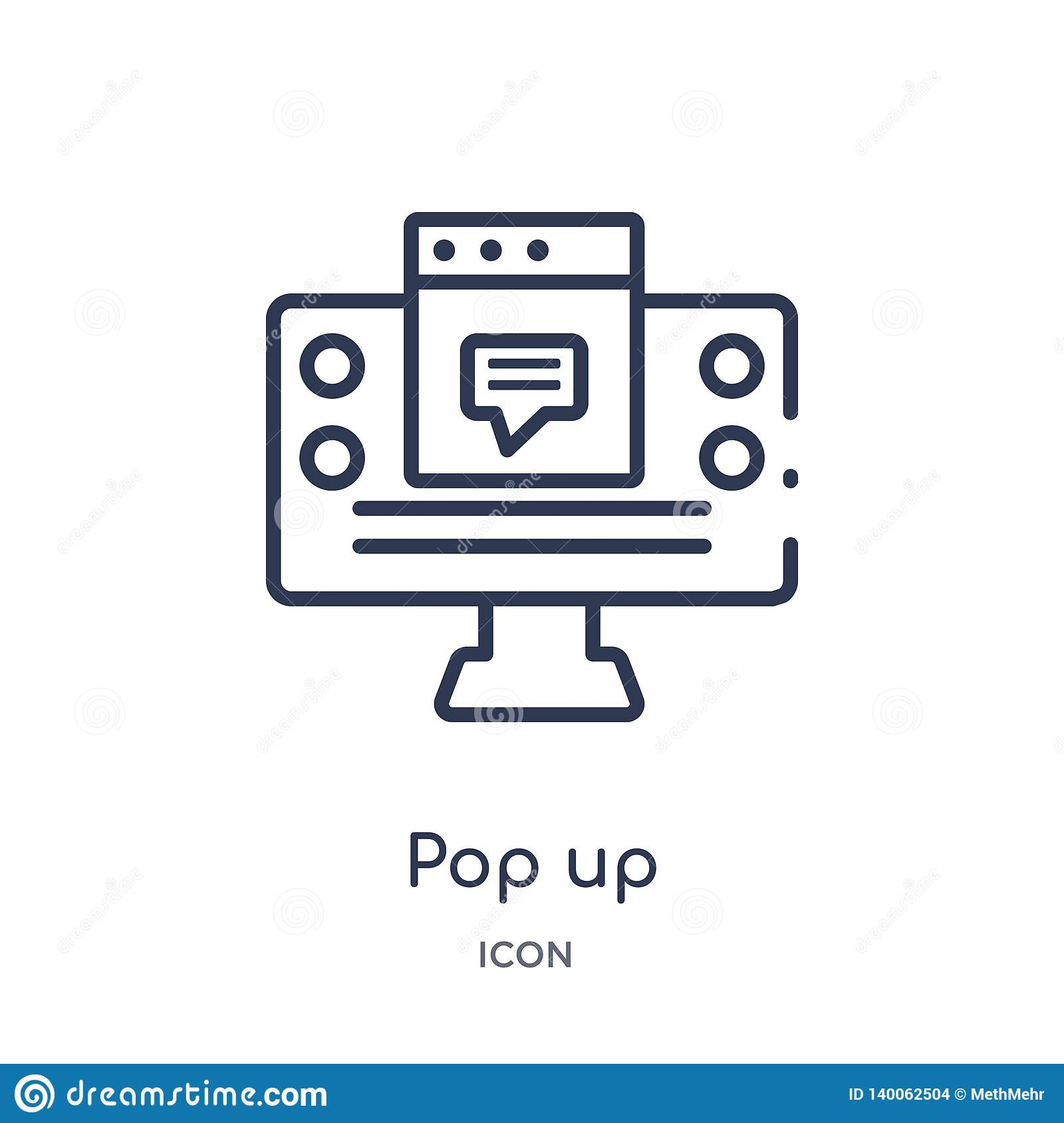 Linear pop up icon from Marketing outline collection. Thin line pop up icon isolated on white background. pop up trendy