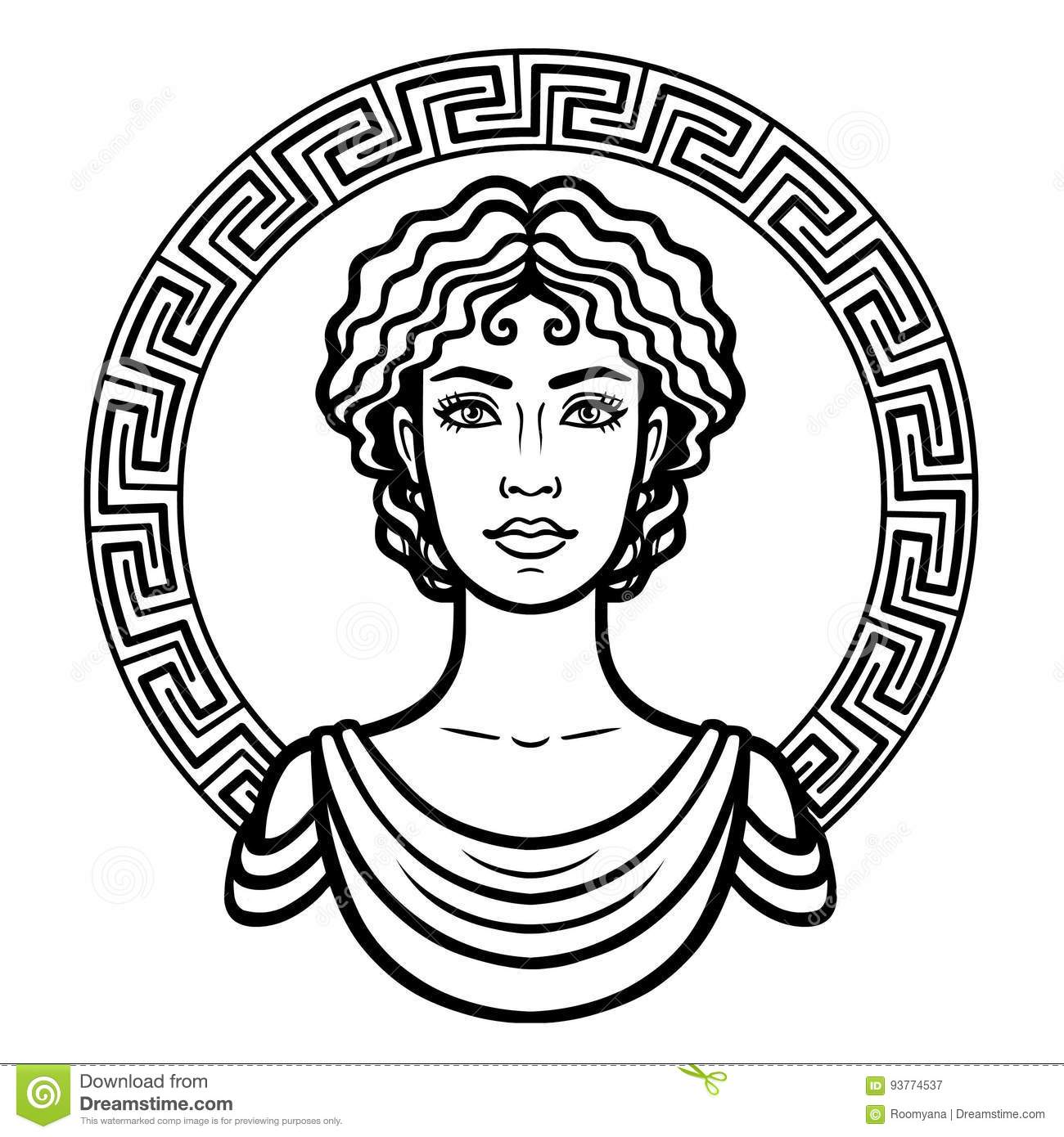 Linear portrait of the young Greek woman with a traditional hairstyle. Decorative circle.