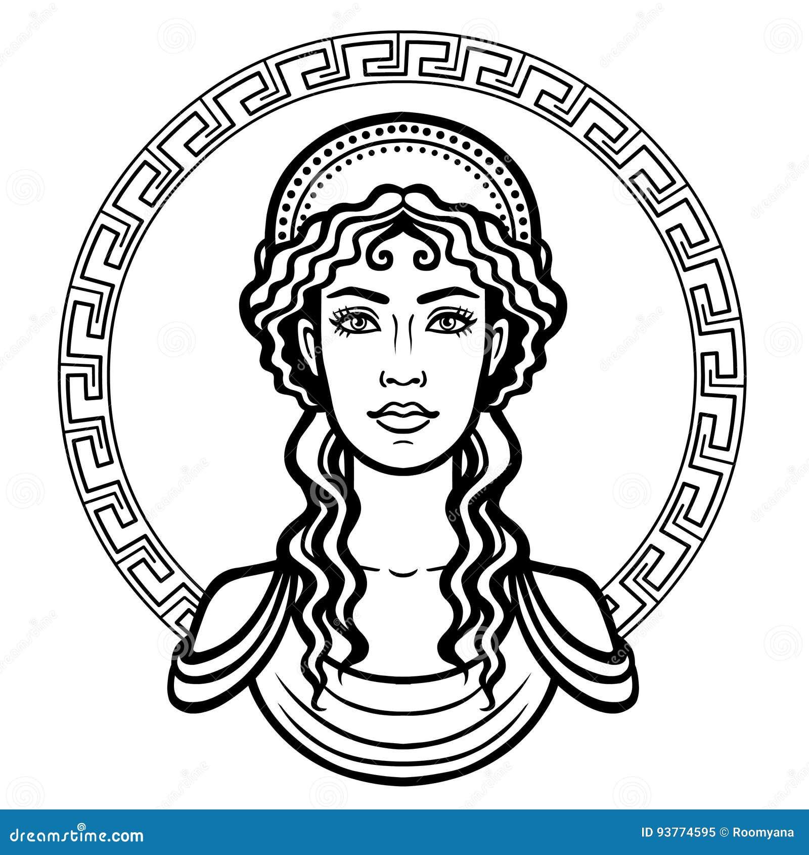 A Beautiful Cartoon Girl Face Linear Portrait Of The...