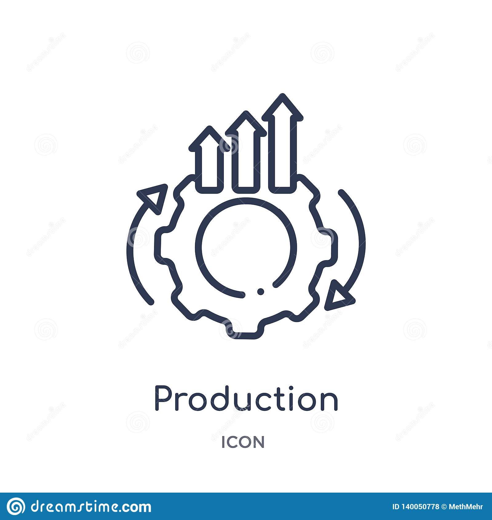 Linear production icon from Business and analytics outline collection. Thin line production vector isolated on white background.