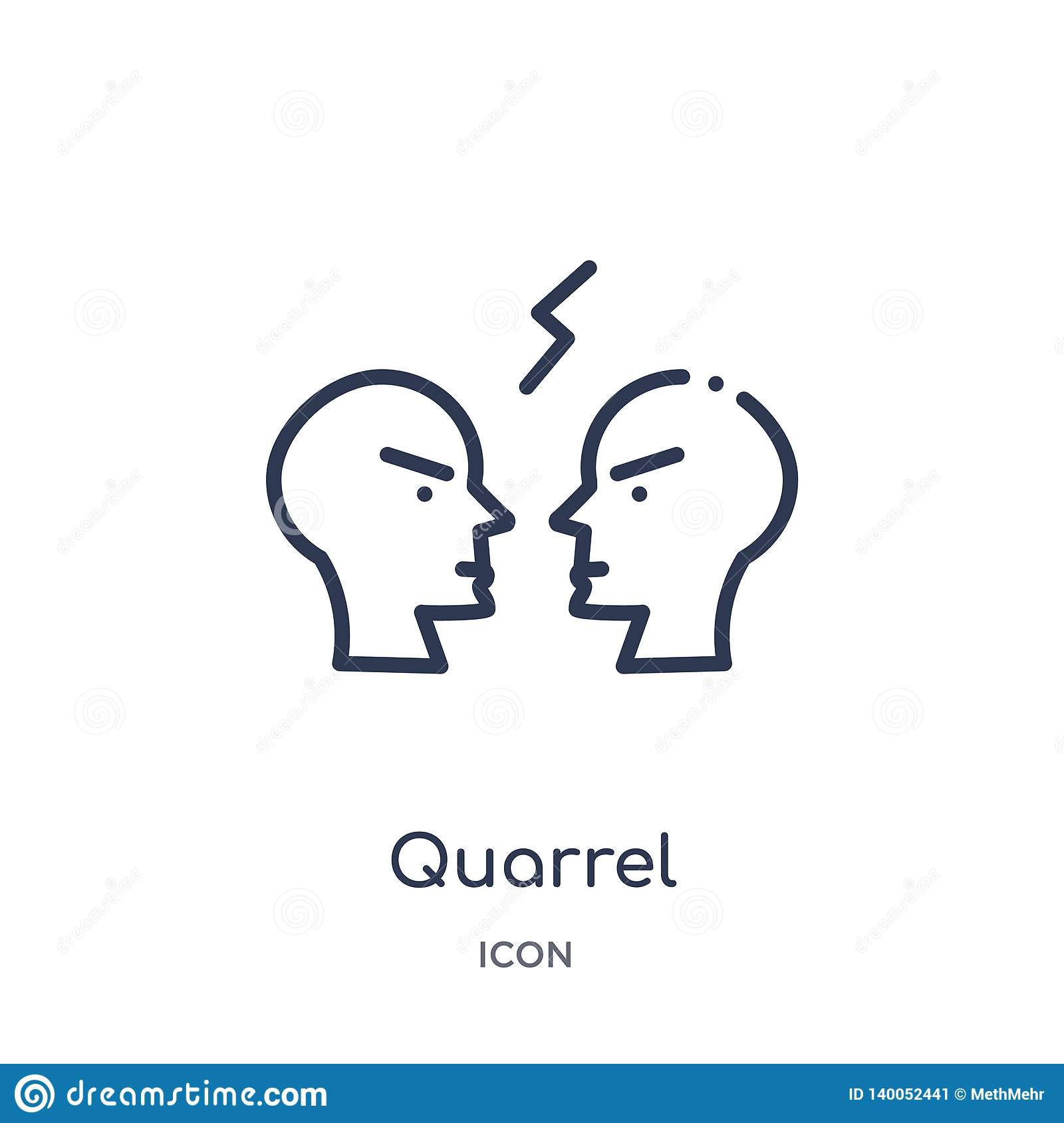 Linear quarrel icon from Comunation outline collection. Thin line quarrel vector isolated on white background. quarrel trendy