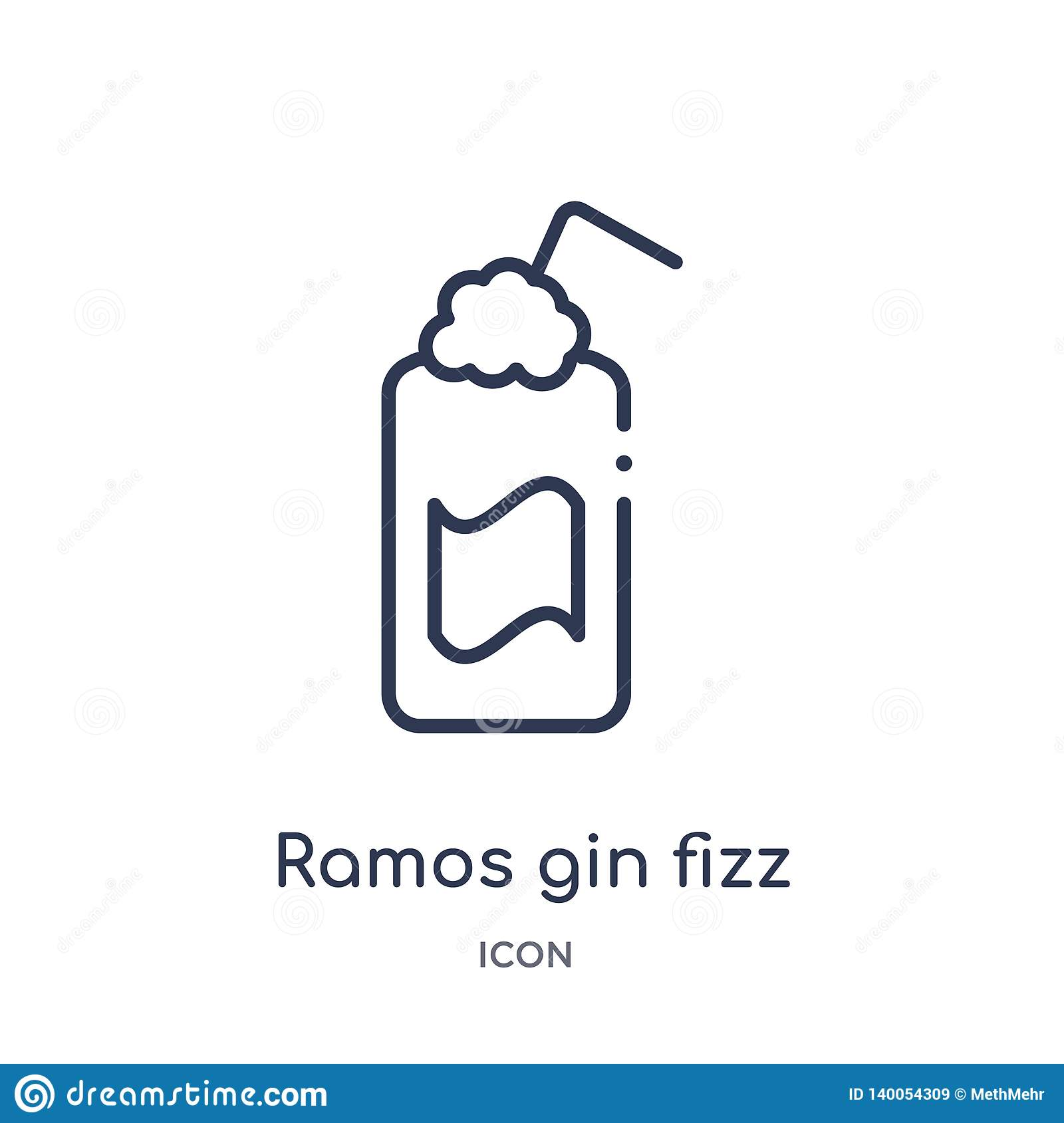 Linear ramos gin fizz icon from Drinks outline collection. Thin line ramos gin fizz vector isolated on white background. ramos gin