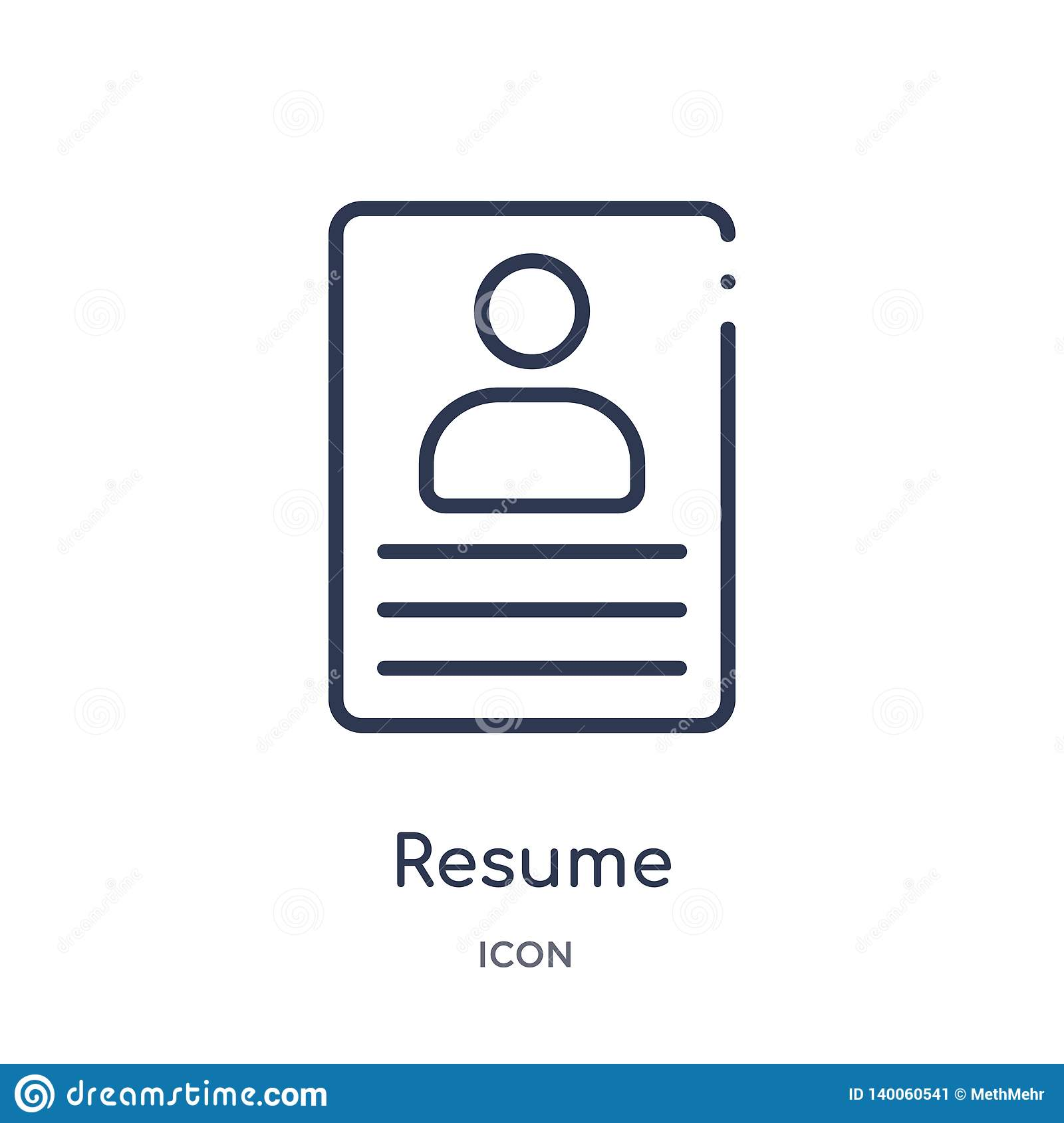 Linear Resume Icon From Human Resources Outline Collection