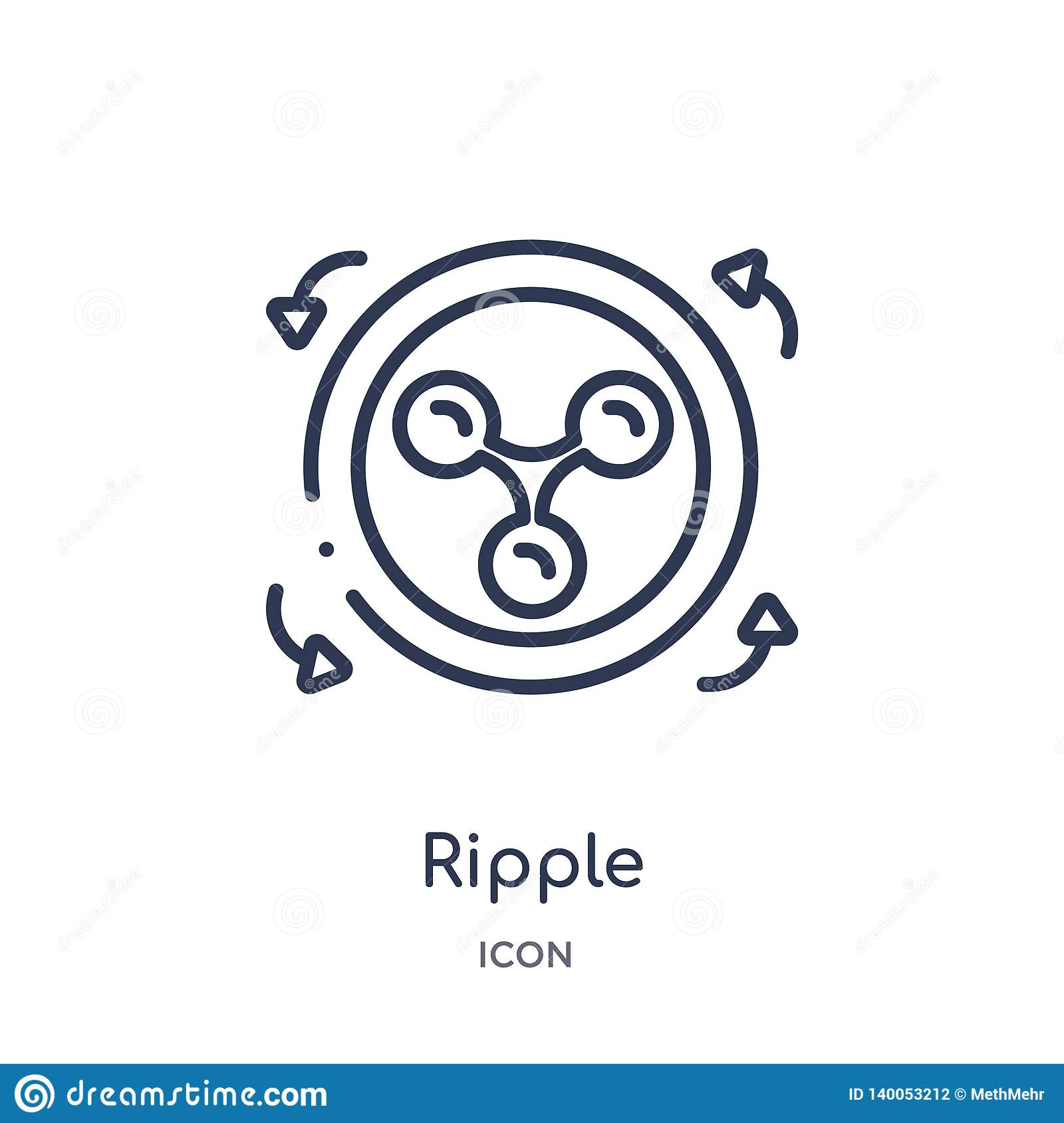 Linear ripple icon from Cryptocurrency economy and finance outline collection. Thin line ripple vector isolated on white