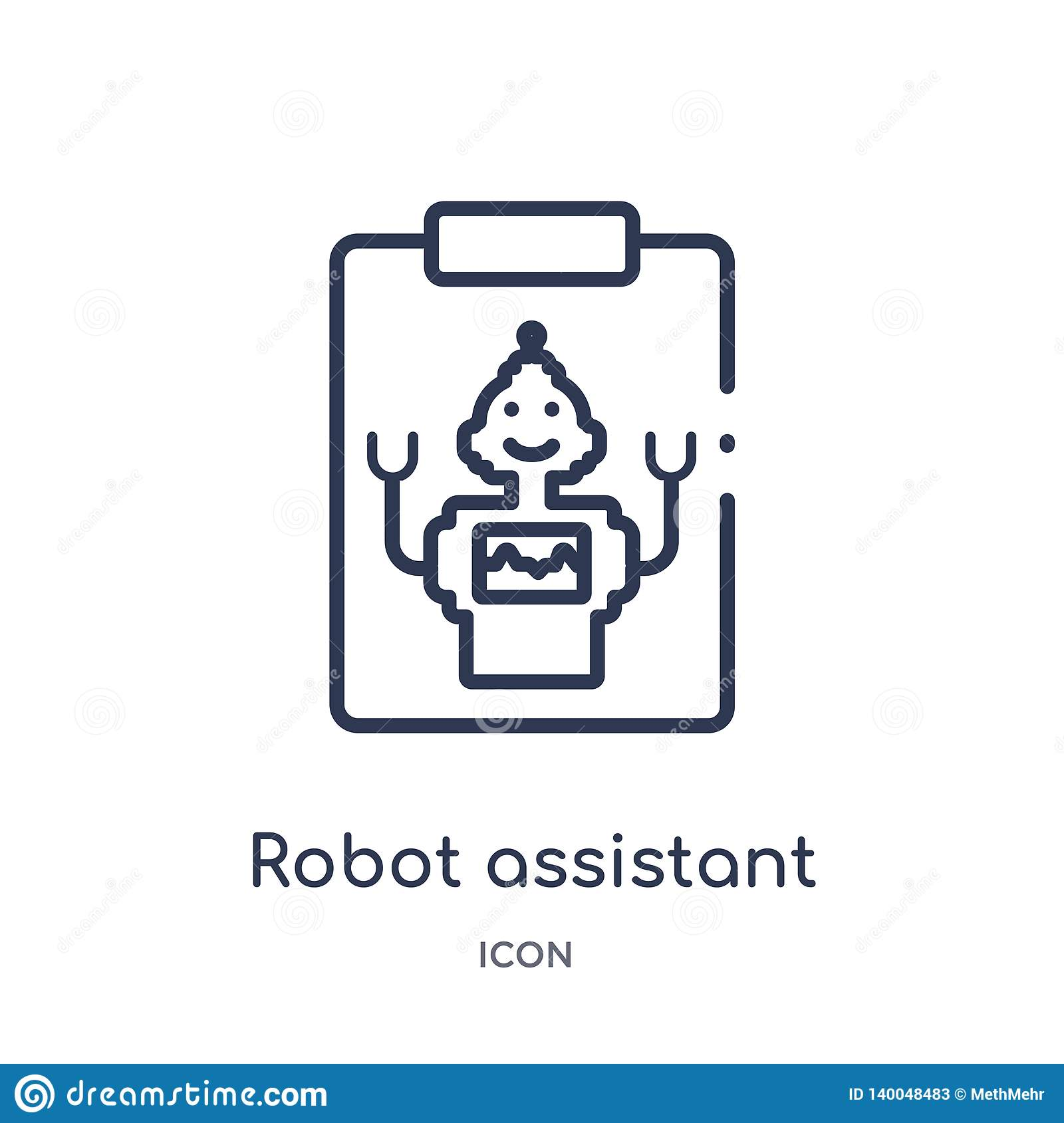 Linear Robot Assistant Icon From Artificial Intellegence And