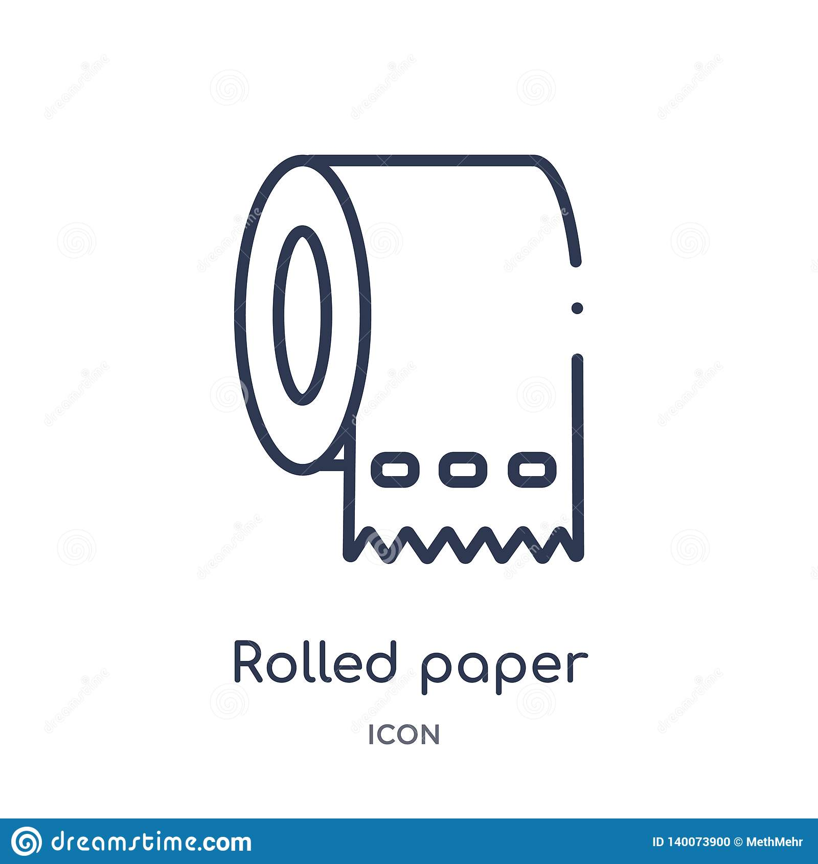 Linear rolled paper for bathroom icon from Medical outline collection. Thin line rolled paper for bathroom icon isolated on white