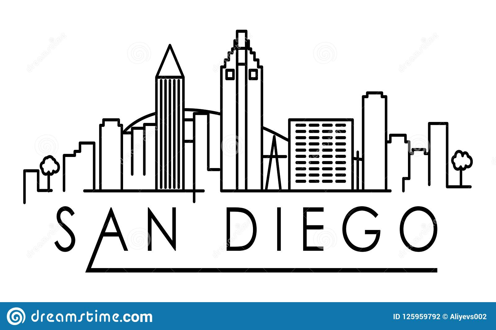 San Diego Skyline Clip Art