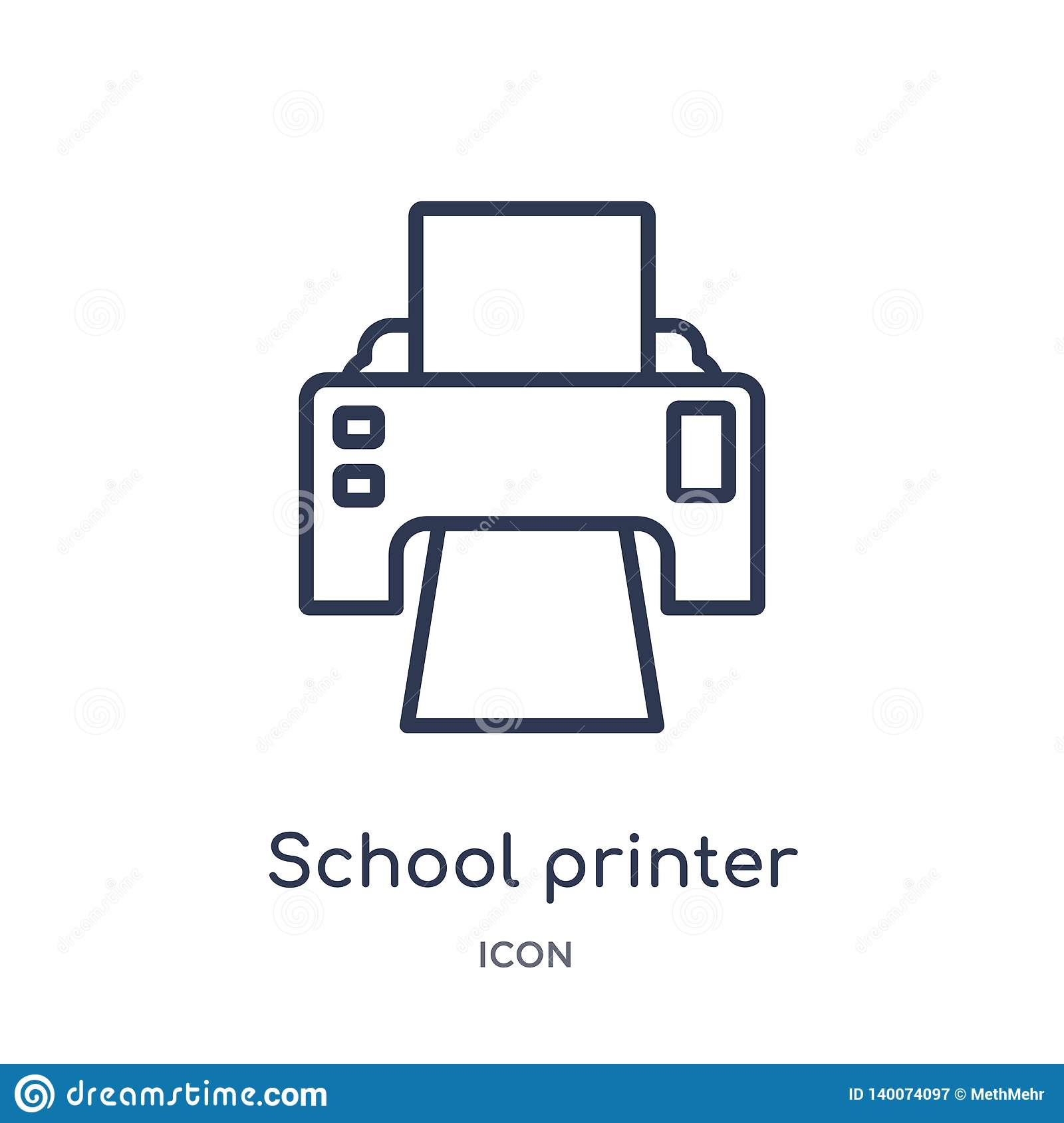 Linear school printer icon from General outline collection. Thin line school printer icon isolated on white background. school