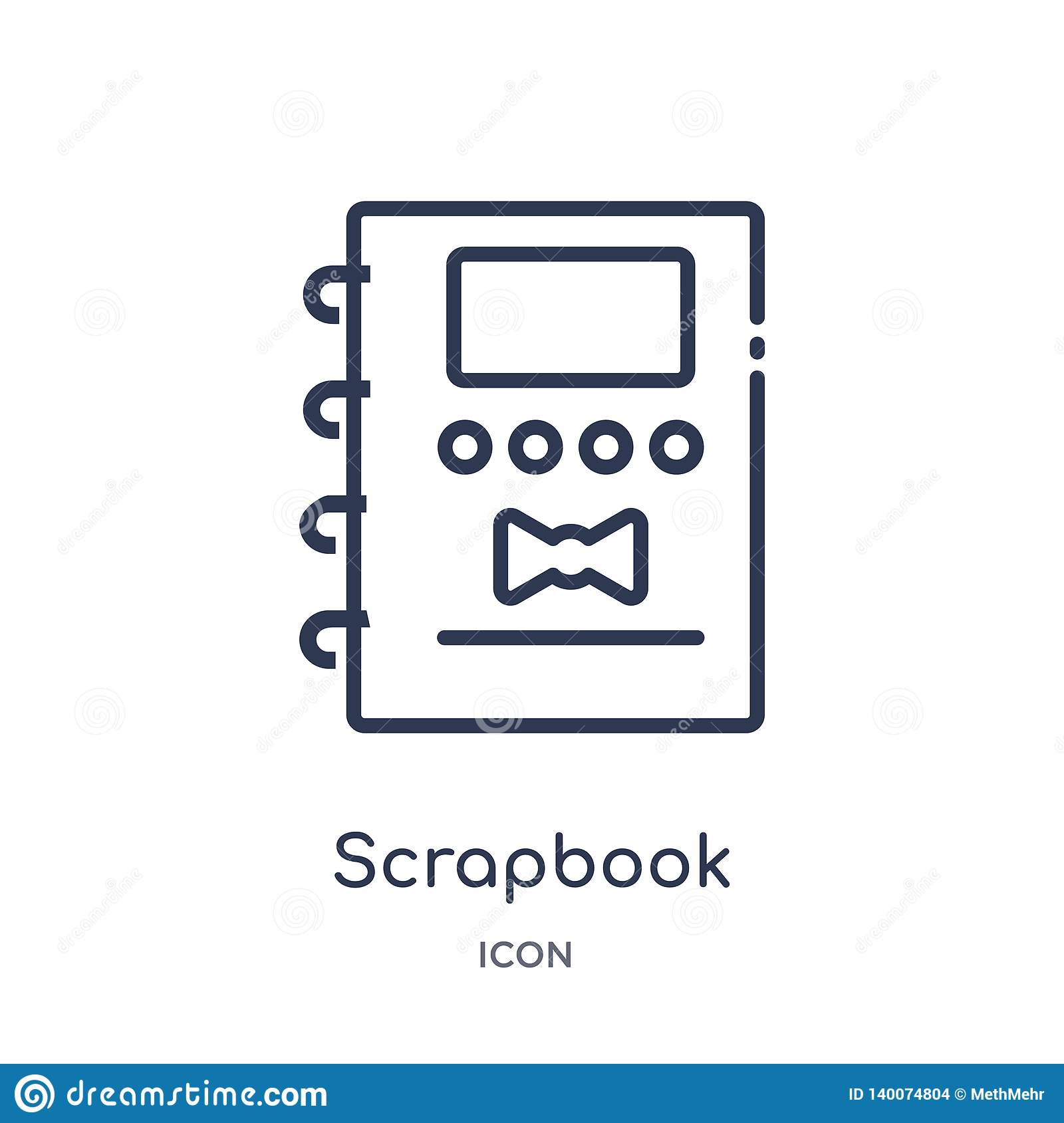 Linear scrapbook icon from Miscellaneous outline collection. Thin line scrapbook icon isolated on white background. scrapbook