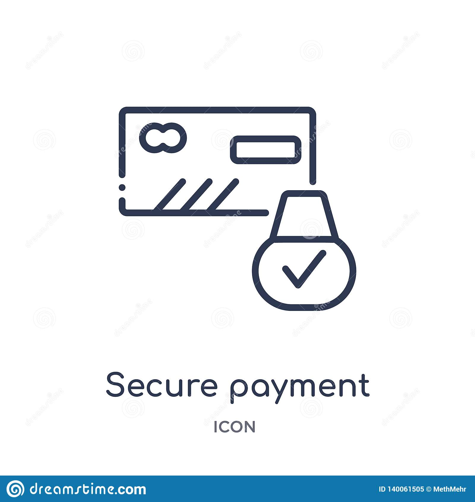 Linear secure payment icon from Internet security and networking outline collection. Thin line secure payment icon isolated on
