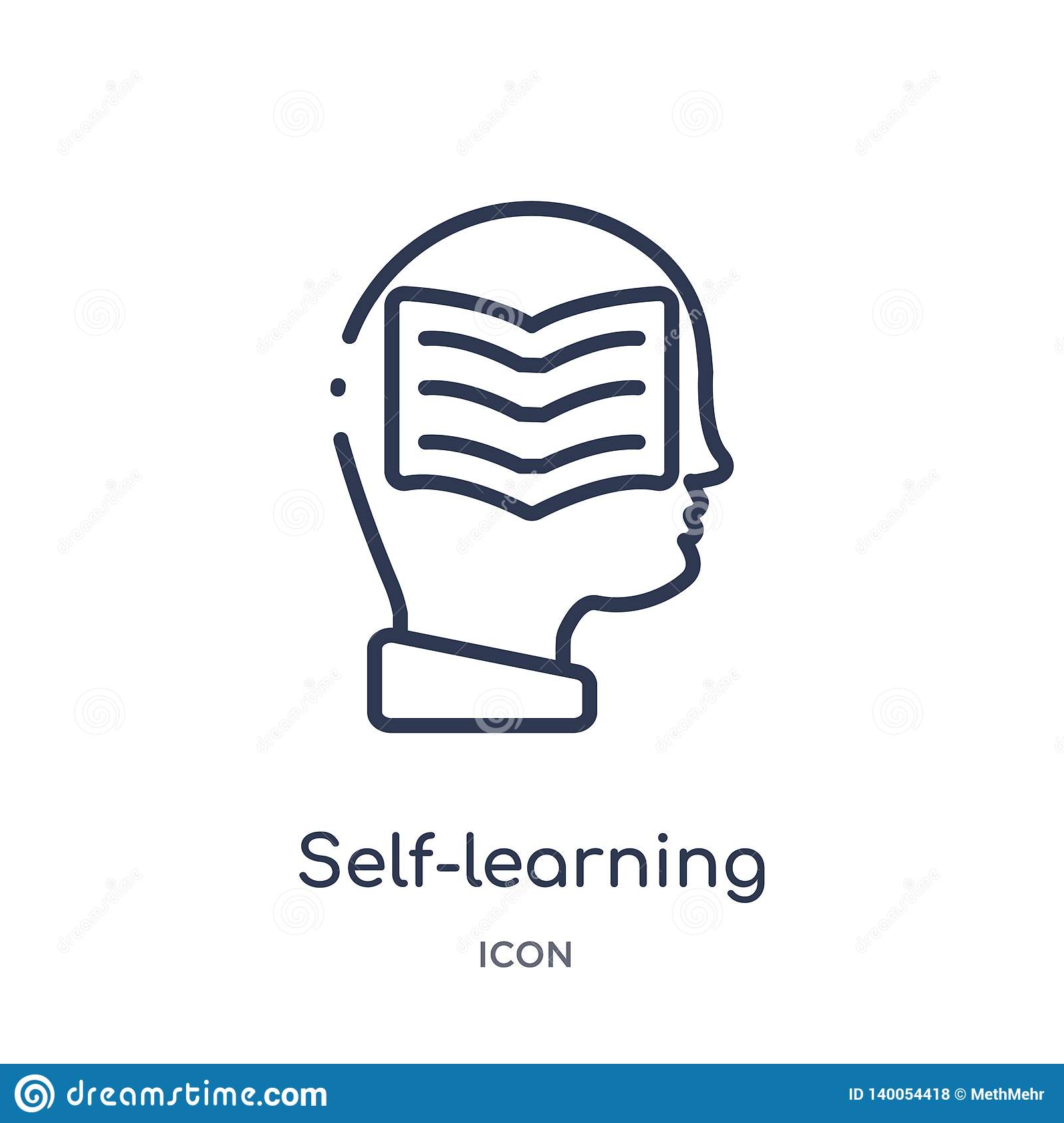 Linear self-learning icon from Elearning and education outline collection. Thin line self-learning vector isolated on white