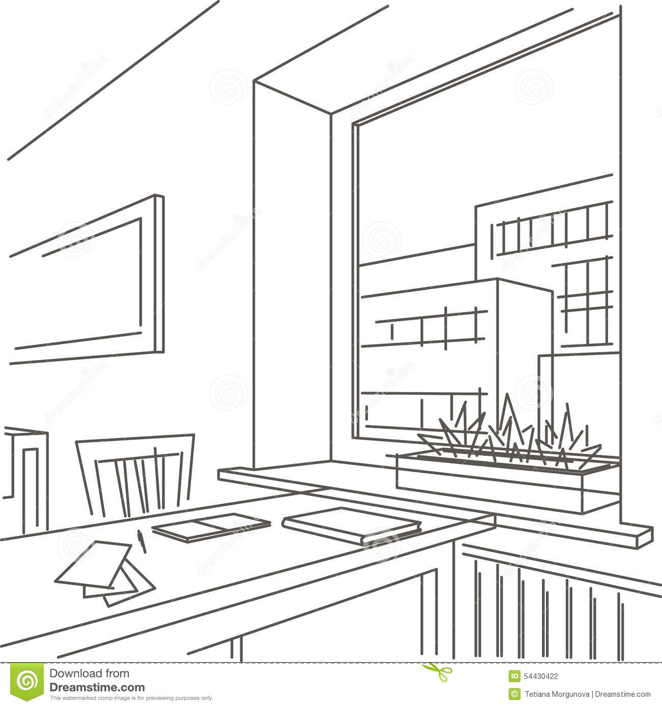 Linear sketch interior of workspace near the window stock for Window design sketch