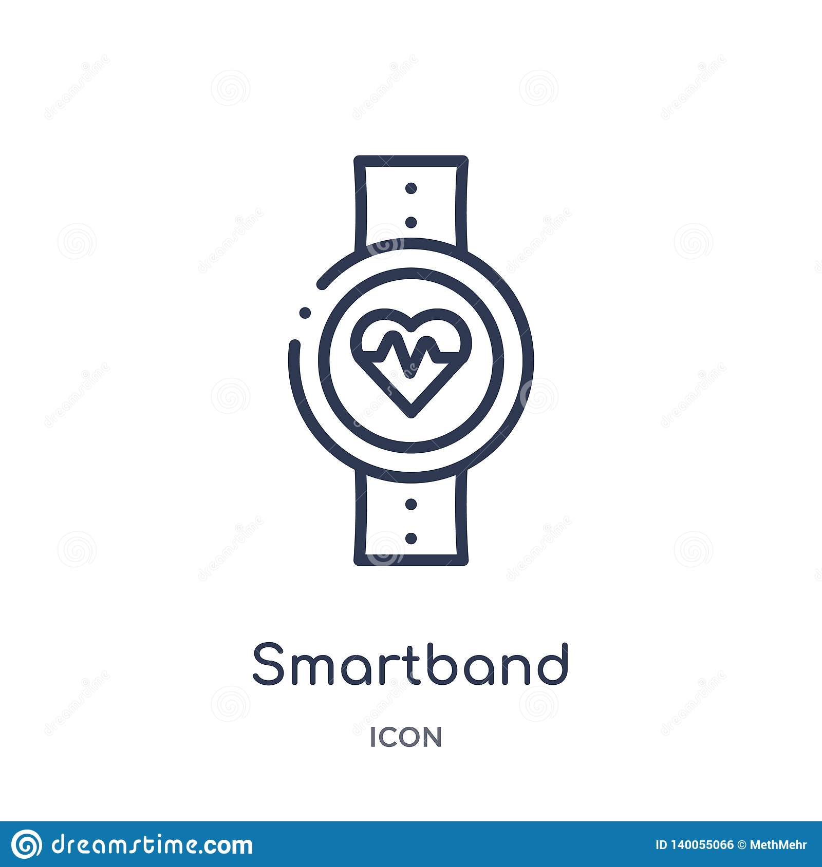Linear smartband icon from Electronic devices outline collection. Thin line smartband vector isolated on white background.