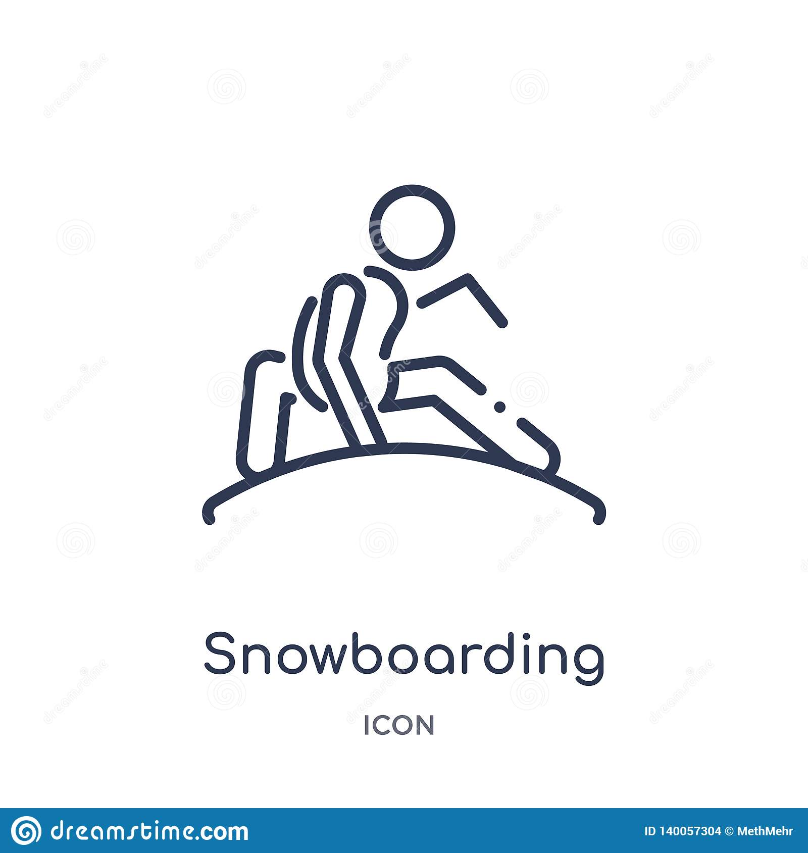 Linear snowboarding icon from Free time outline collection. Thin line snowboarding vector isolated on white background.