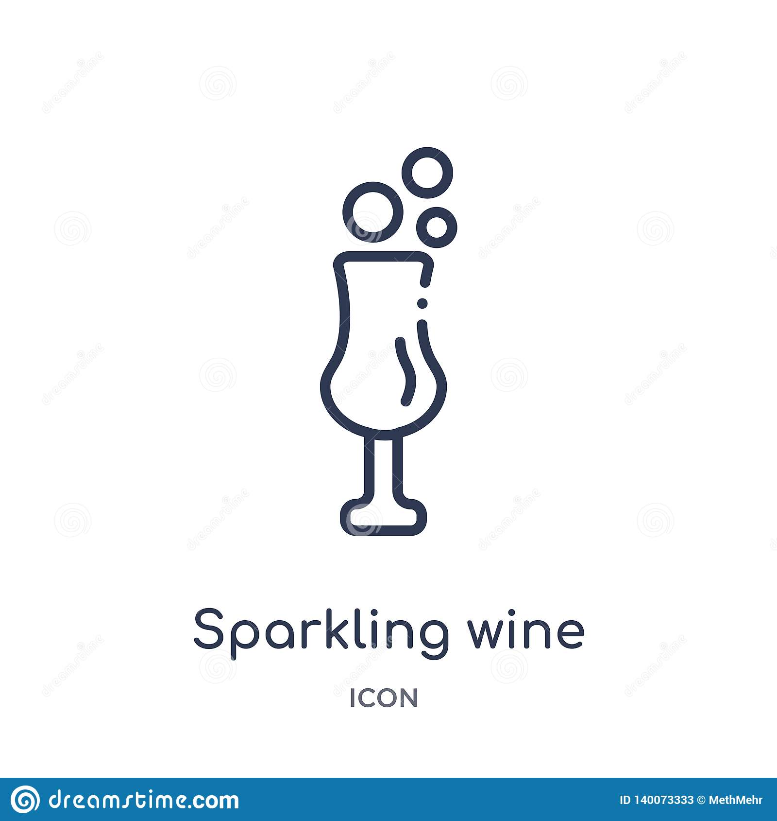 Linear sparkling wine icon from Food outline collection. Thin line sparkling wine icon isolated on white background. sparkling