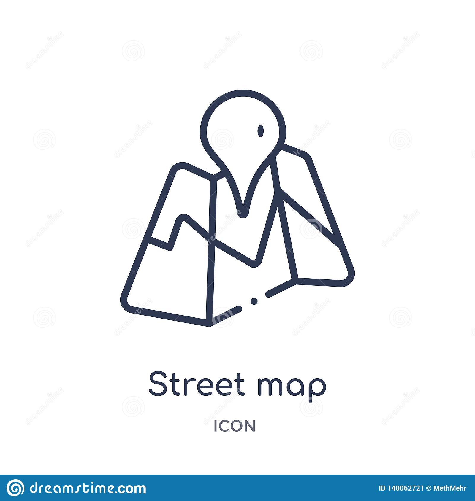 Linear street map icon from Maps and locations outline collection. Thin line street map icon isolated on white background. street