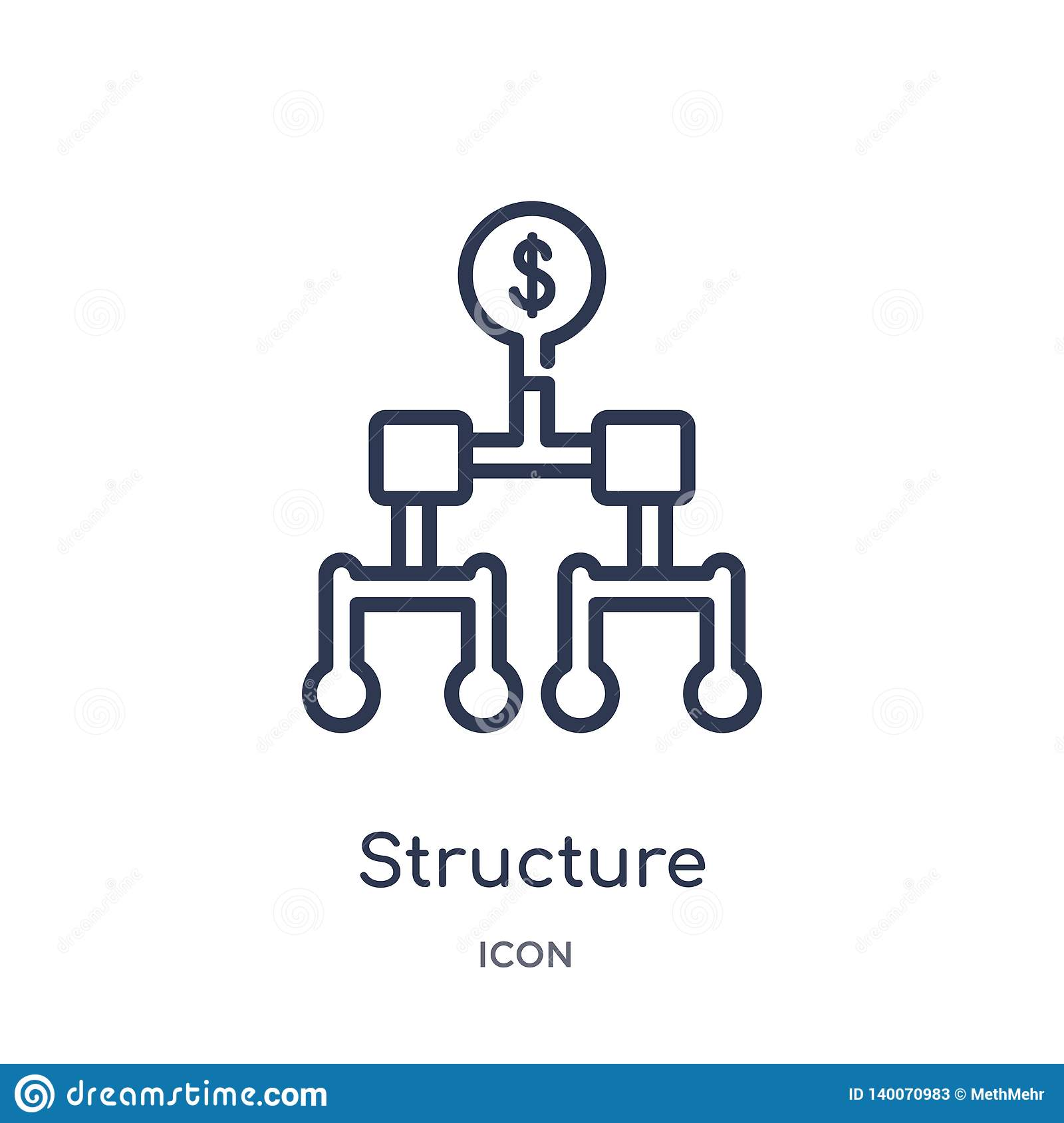 Linear structure icon from Business outline collection. Thin line structure icon isolated on white background. structure trendy