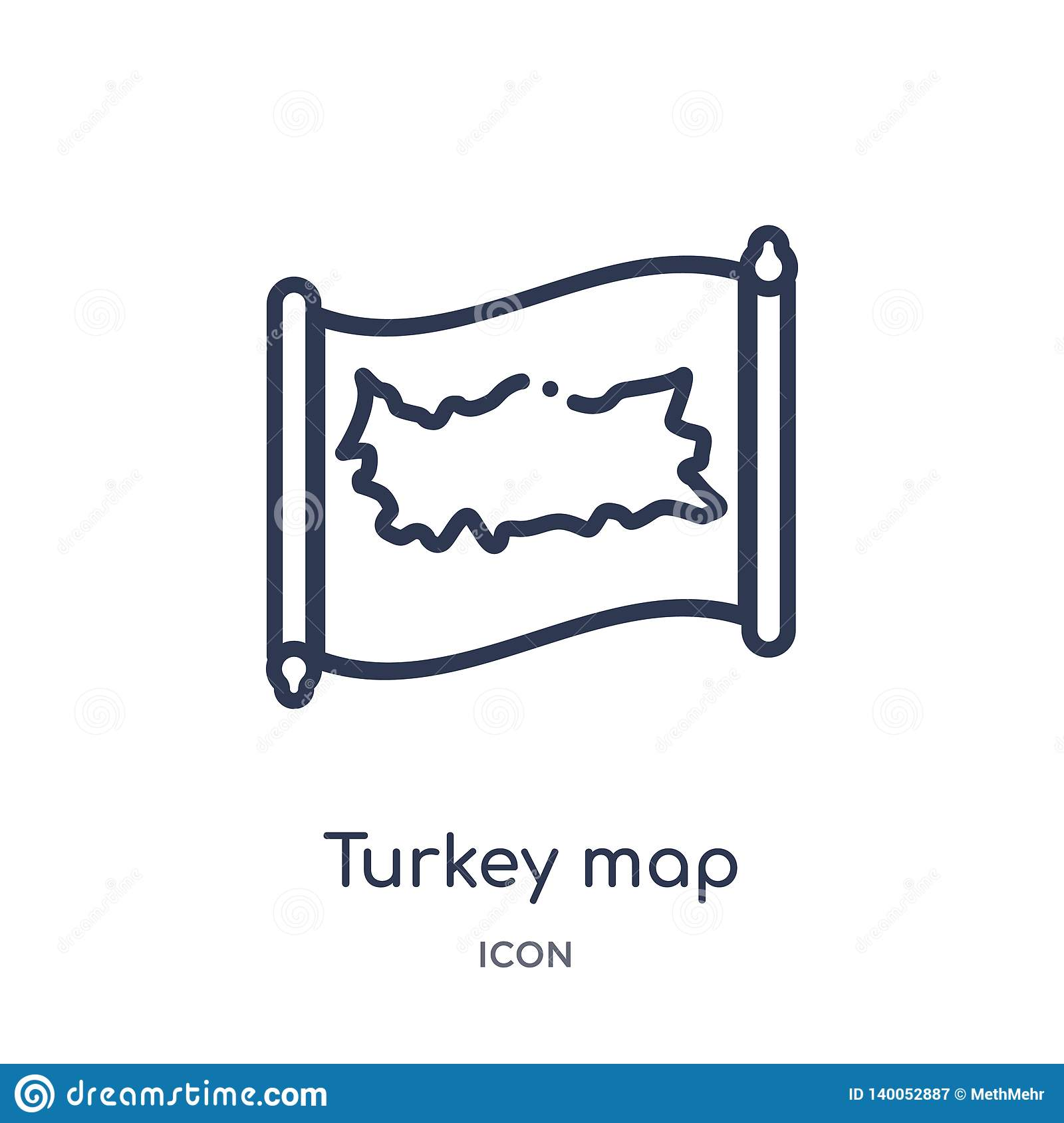 Linear turkey map icon from Countrymaps outline collection. Thin line turkey map vector isolated on white background. turkey map