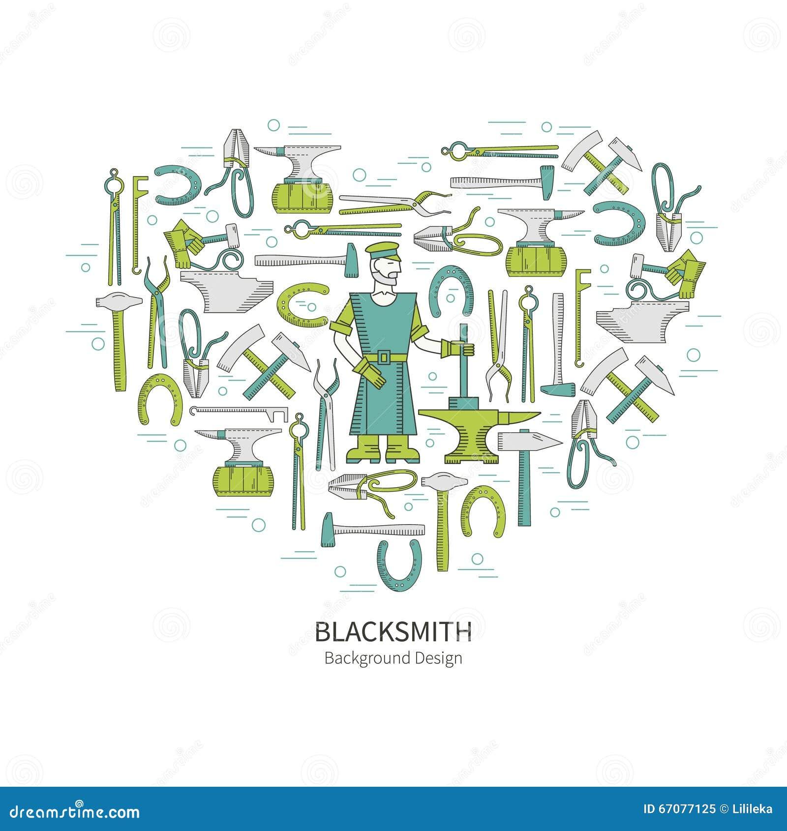 Blacksmith Icons Set In Flat Style Cartoon Vector