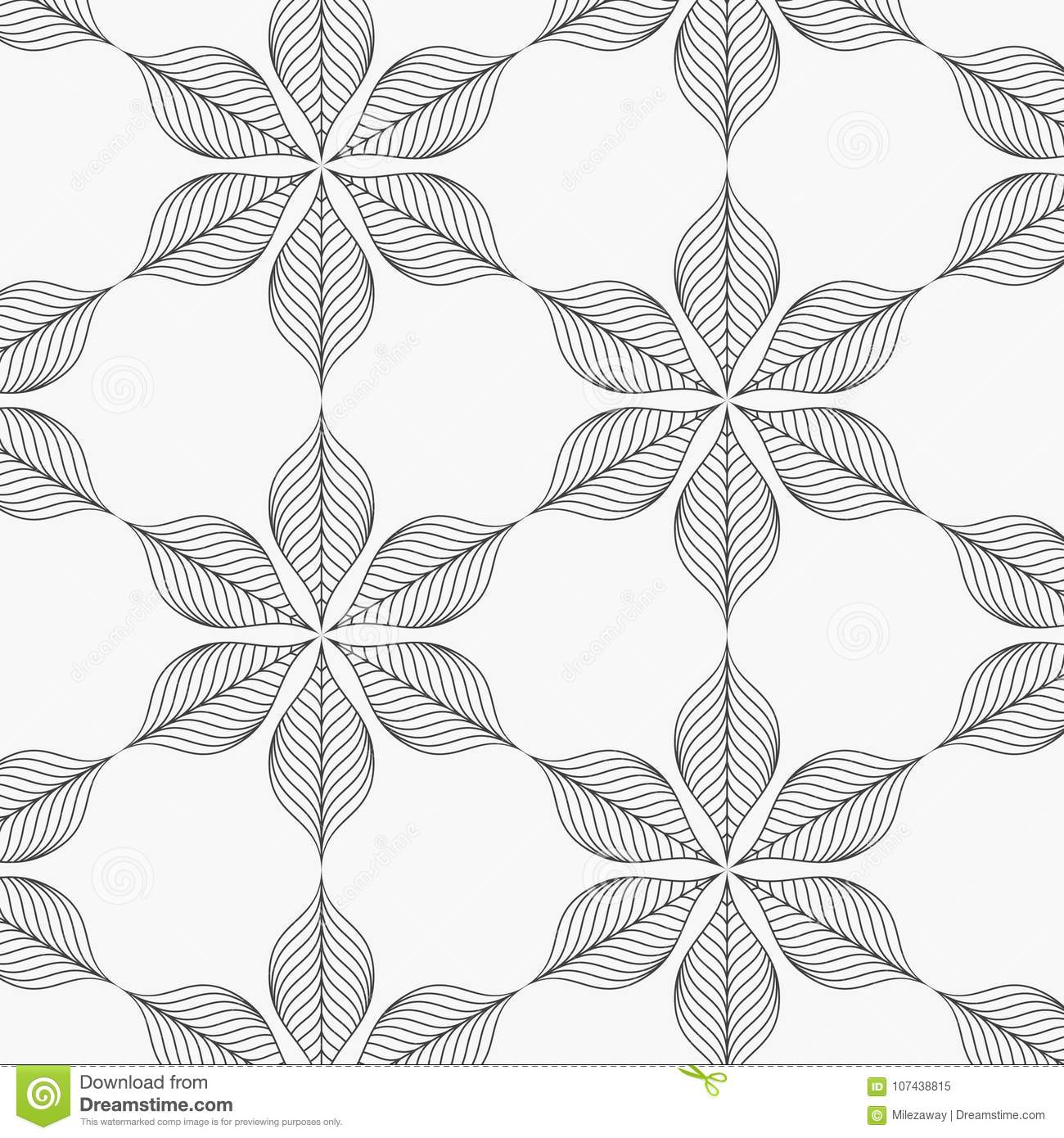 Linear Vector Pattern Repeating Abstract Leaves Gray Line Of Leaf Or Flower Floral